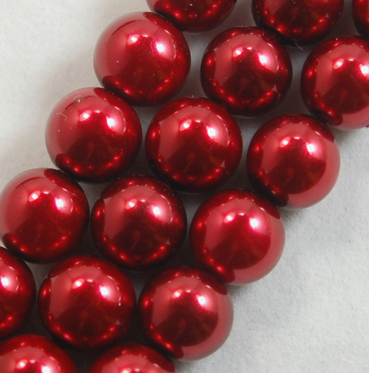 Glass Pearl 8mm Bordeaux Red