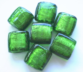 Silver Foil Square Beads - Emerald 12mm