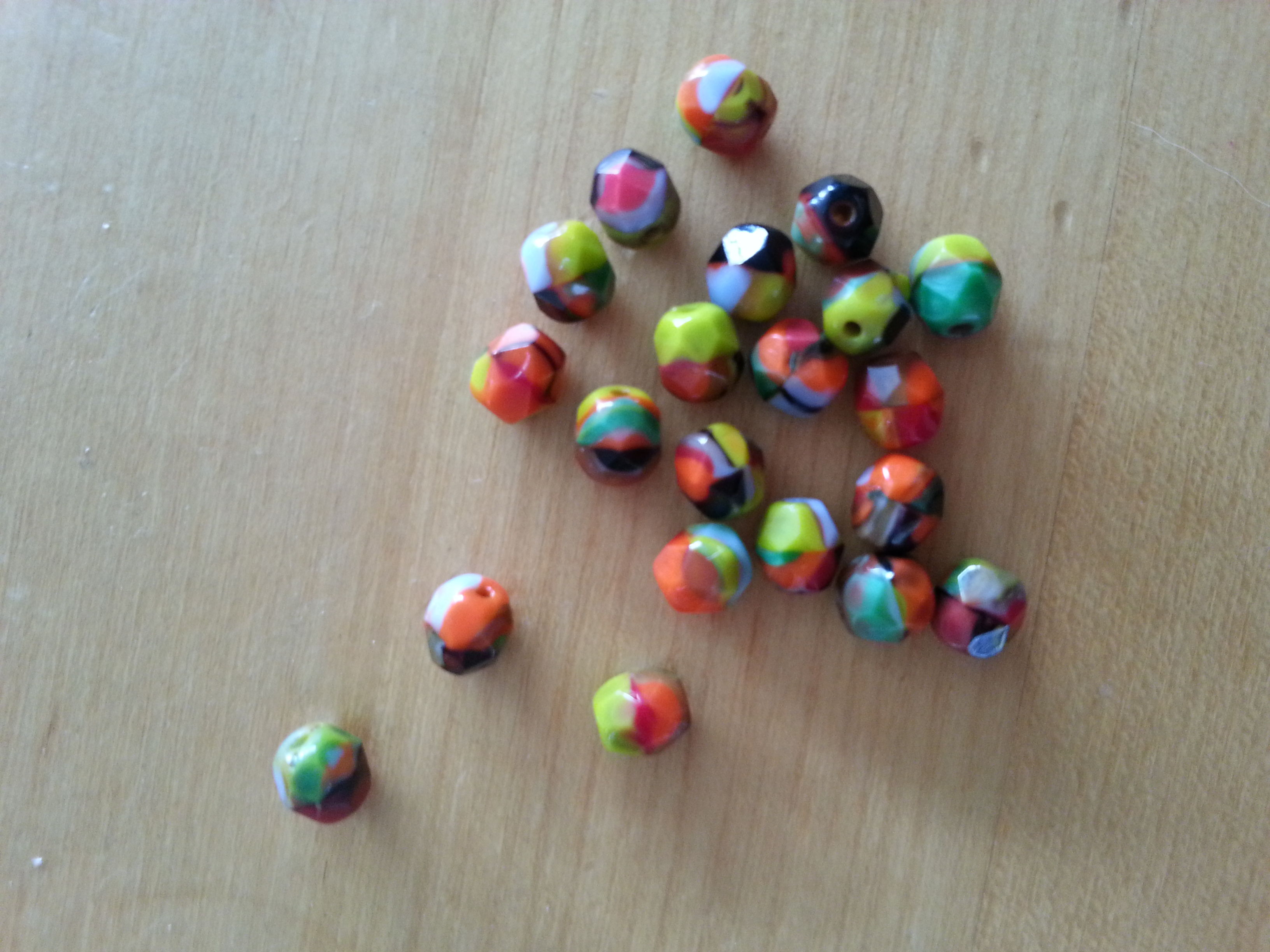 Czech 6mm Multicoloured Confetti Faceted Bead
