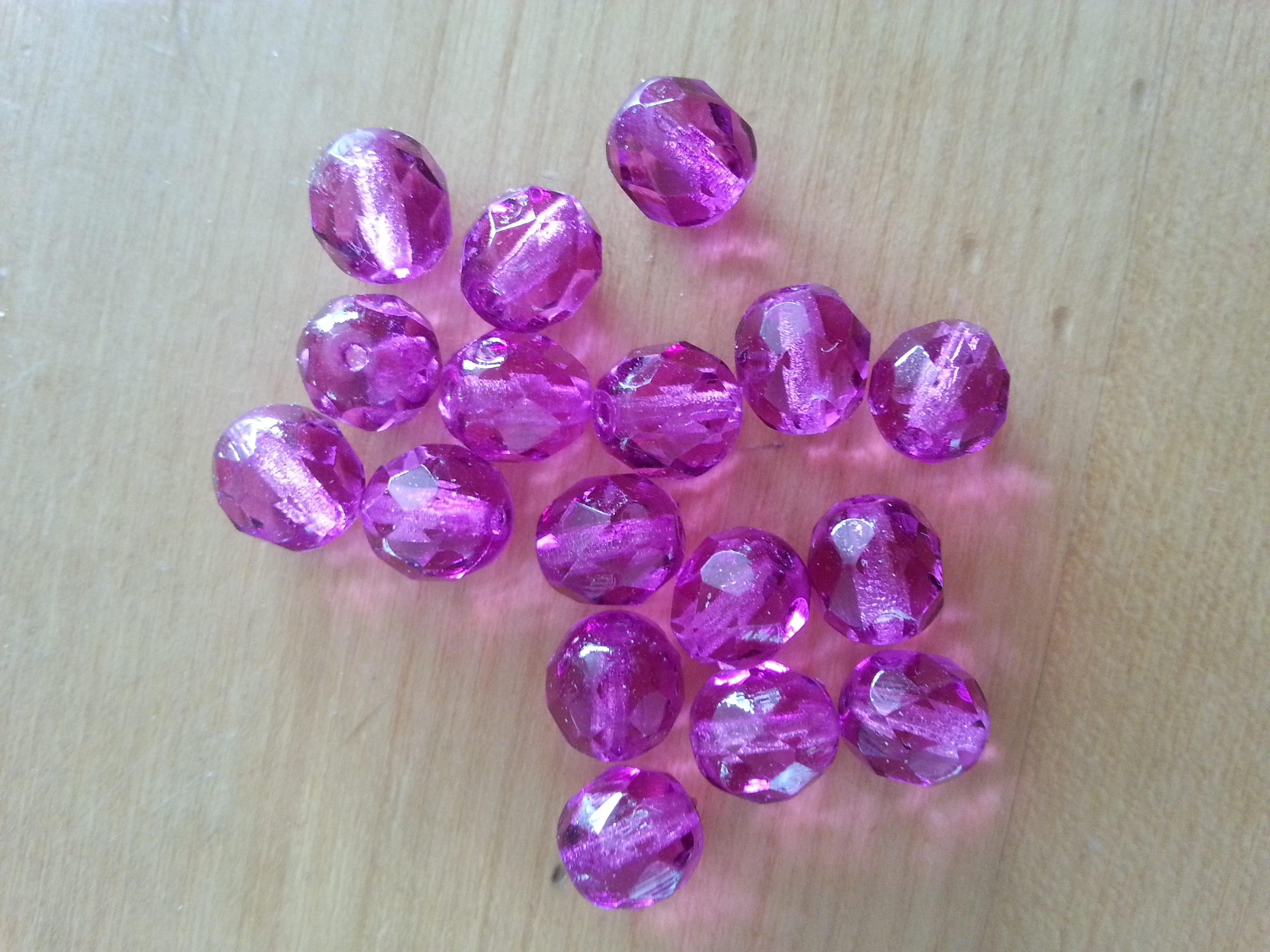 Czech 8mm Fuchsia Coated Faceted Round Bead