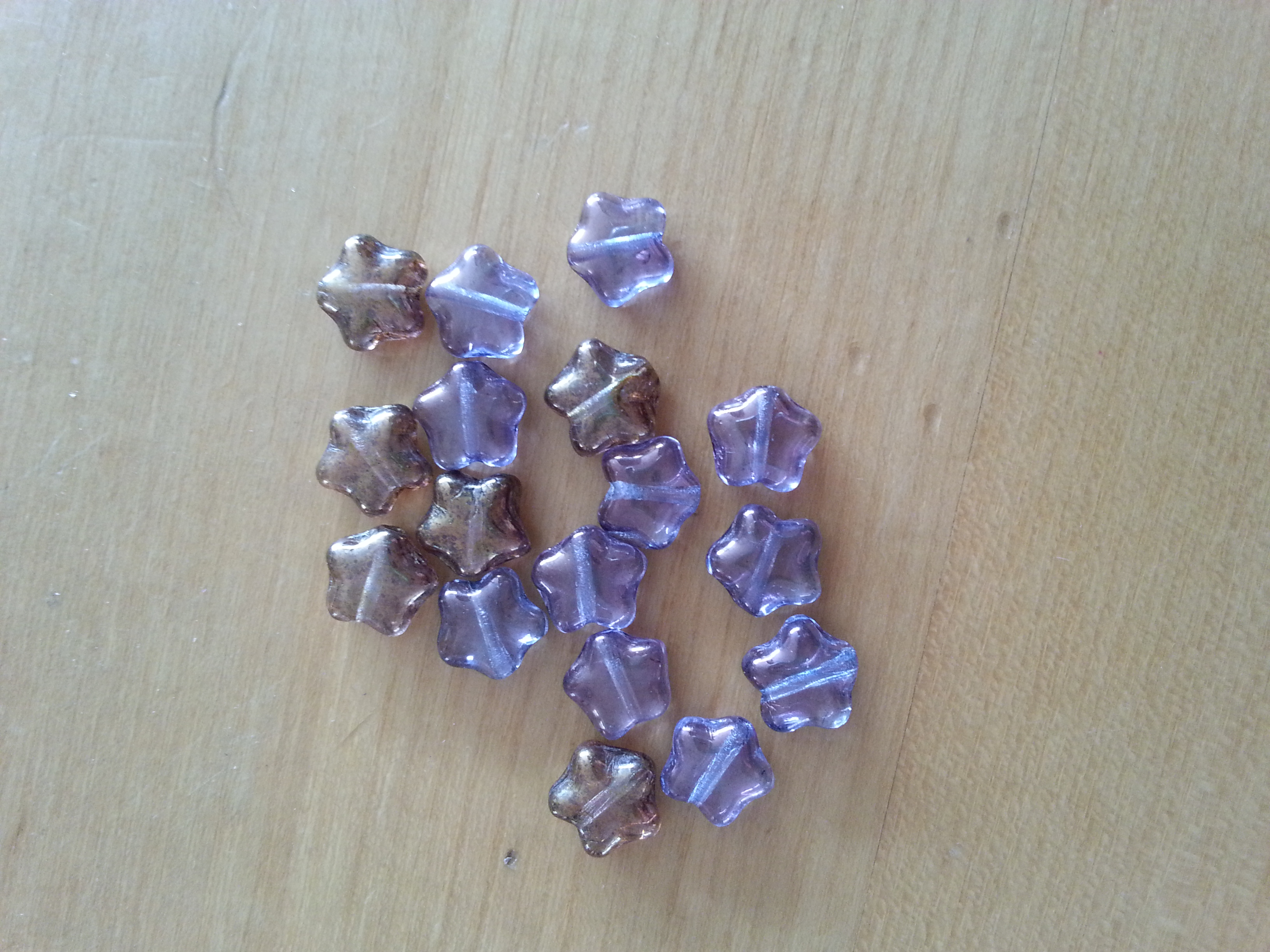 Czech 8mm Lavender and Bronze Star Beads