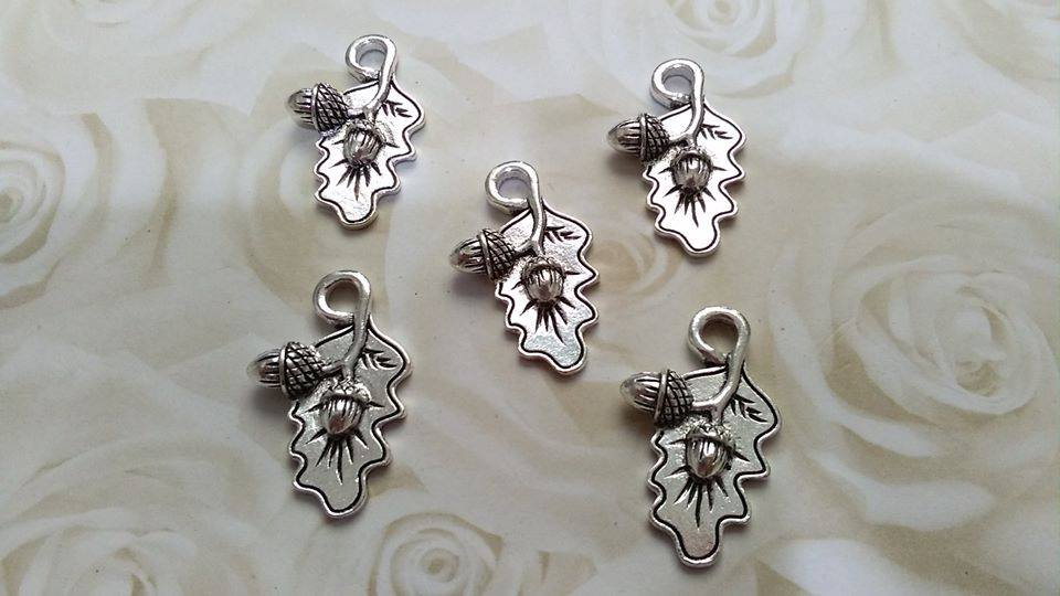 Tibetan Silver Oak Leaf and Acorn Charm