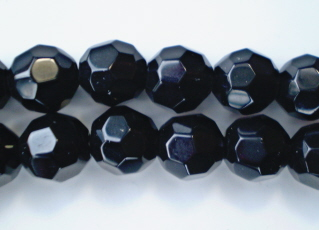 Jet Faceted Glass Crystal 8mm