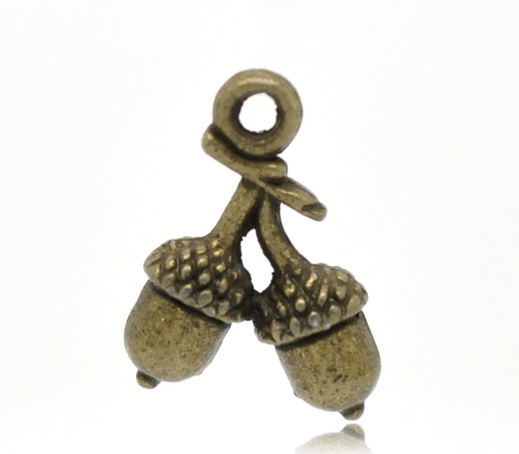 Antique Bronze Acorn Charm