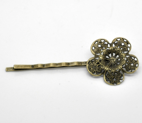 Antique Bronze Bezel Hair Clip