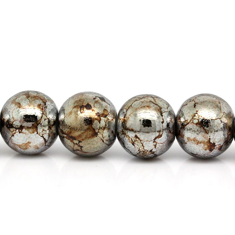 Glass Bead 8mm Silvery and Black