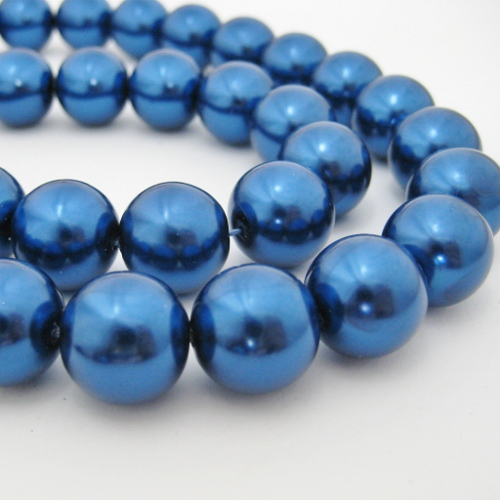 Dark Blue Glass Pearl 10mm