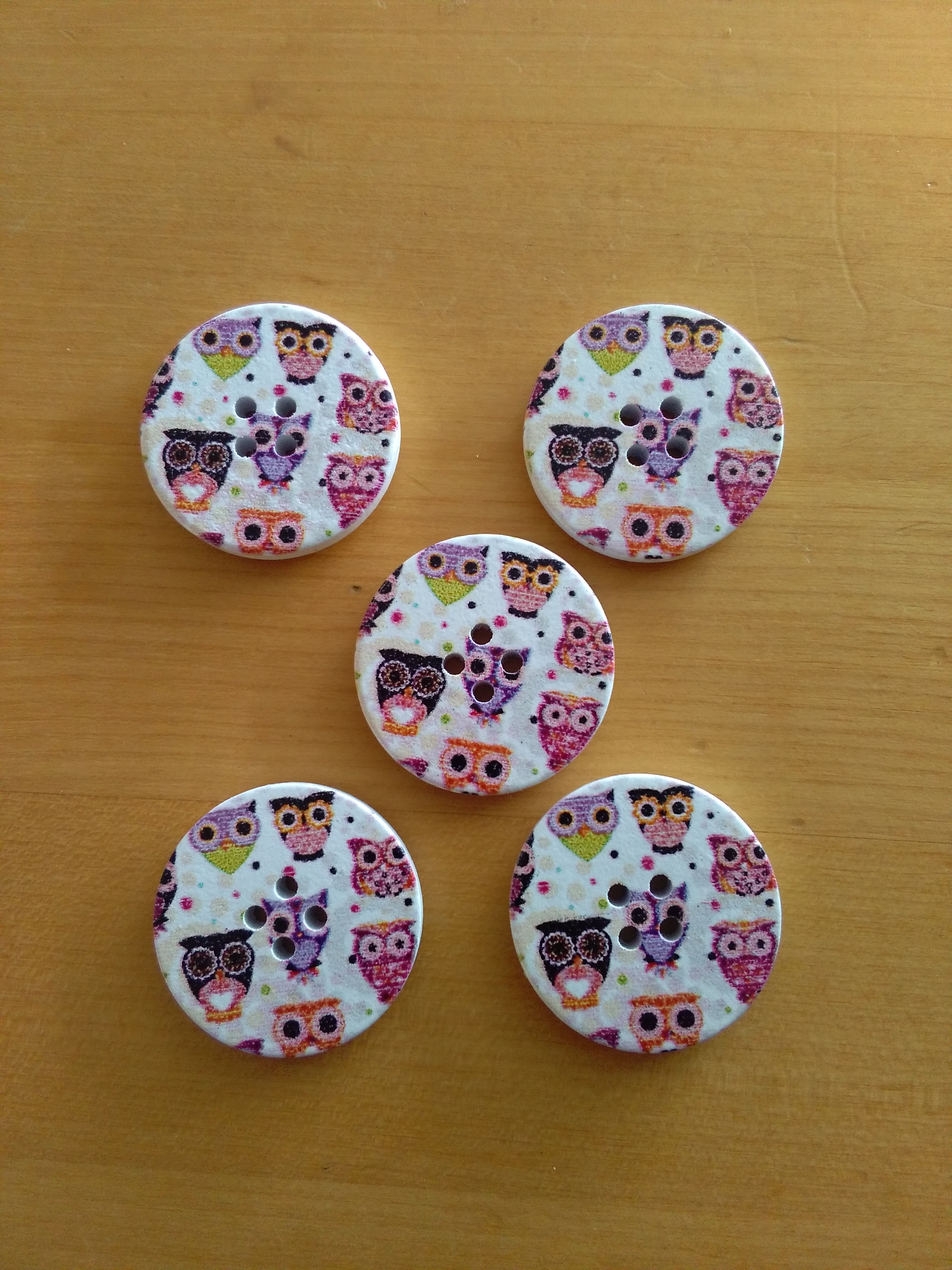 Wooden Owl Button 30mm