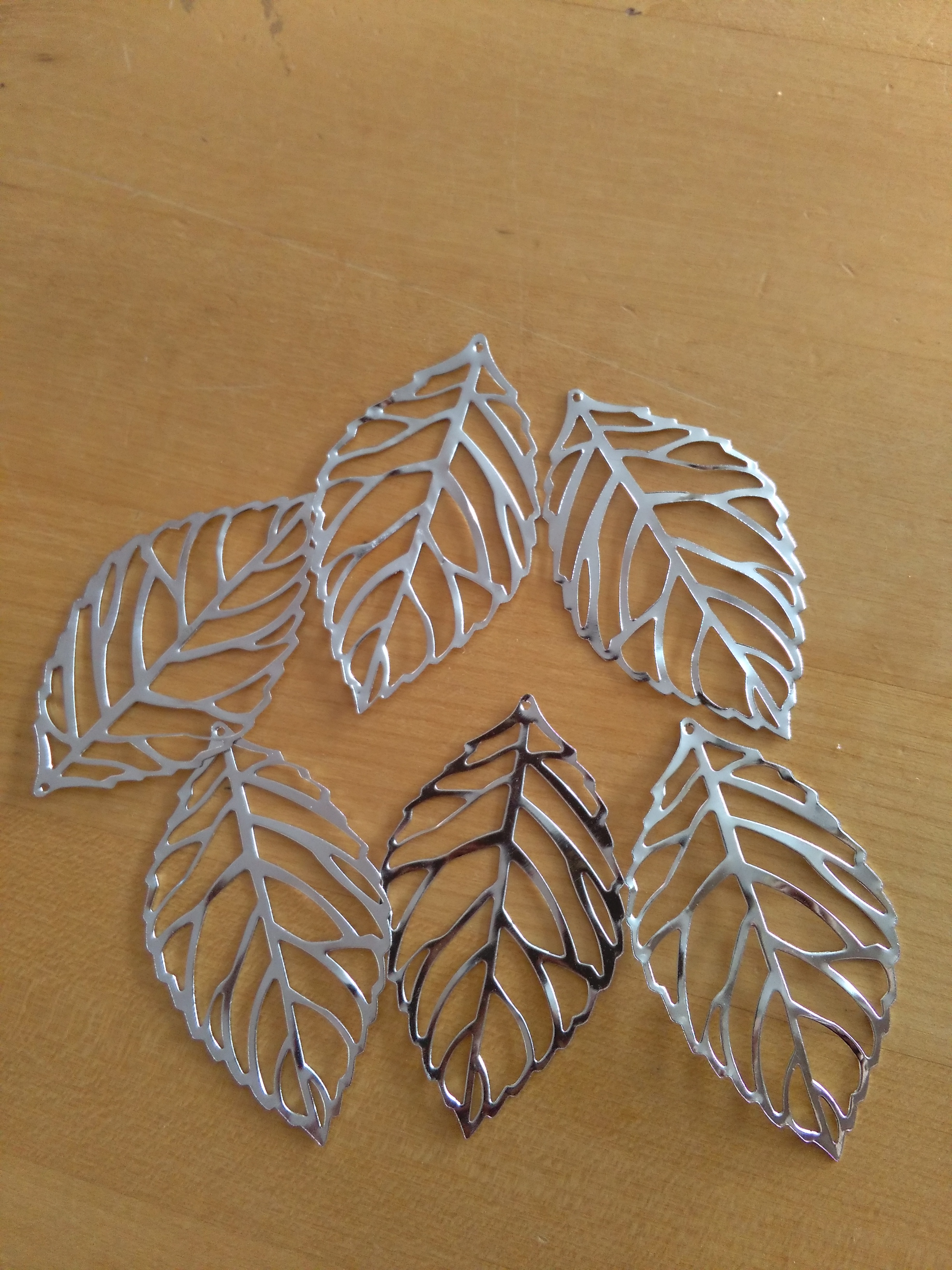 Silver Tone Filigree Leaf 54x31mm