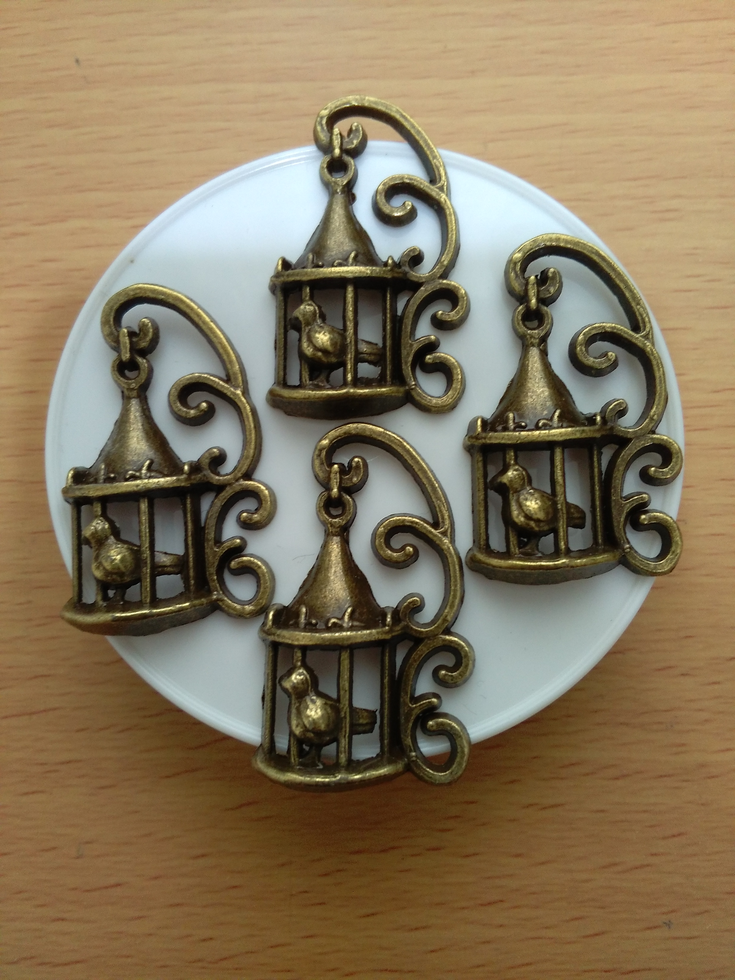 Antique Bronze Bird Cage Charm