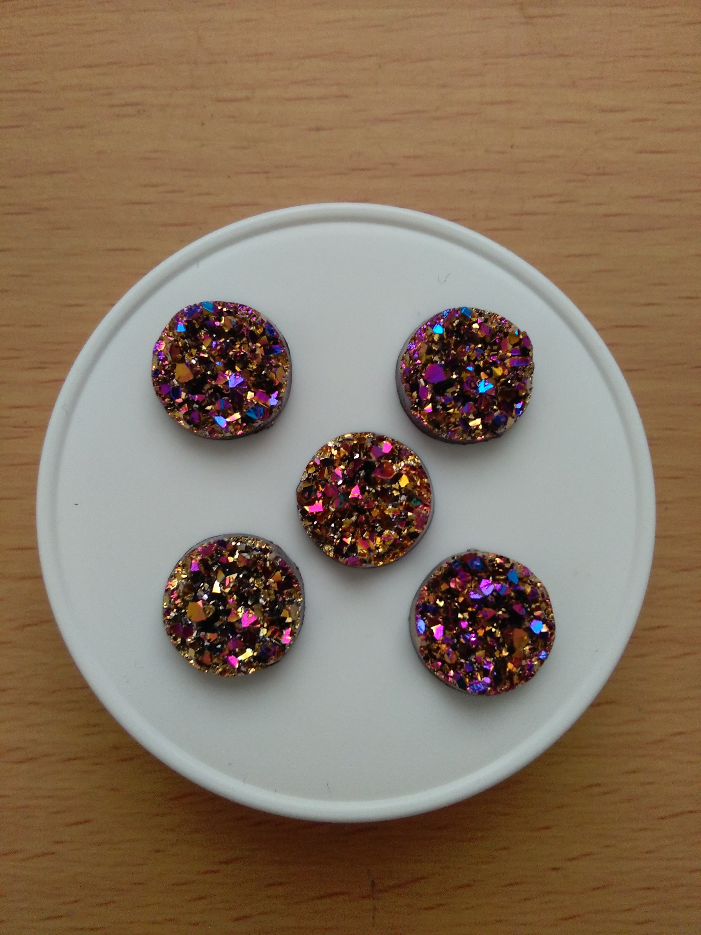 Multi Coloured Druzy Cabochon 12mm