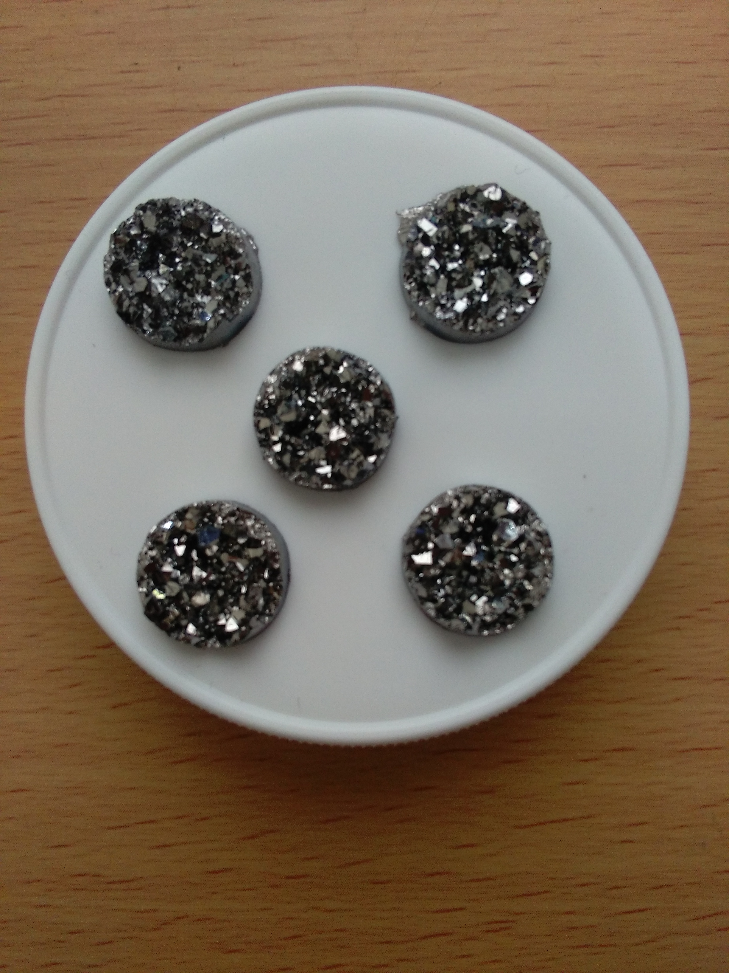 Black Druzy Cabochon 12mm