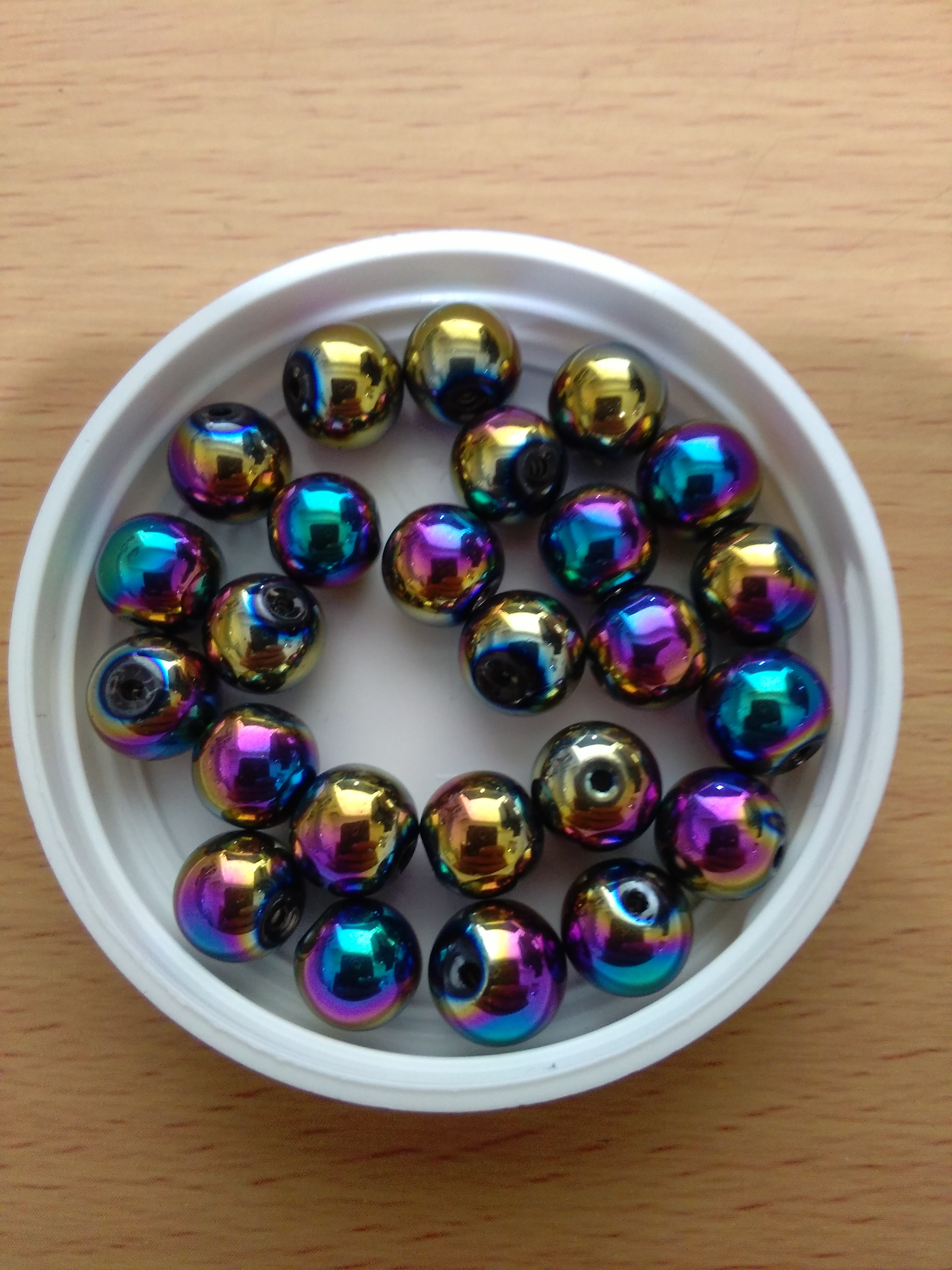 Rainbow Glass Bead 8mm