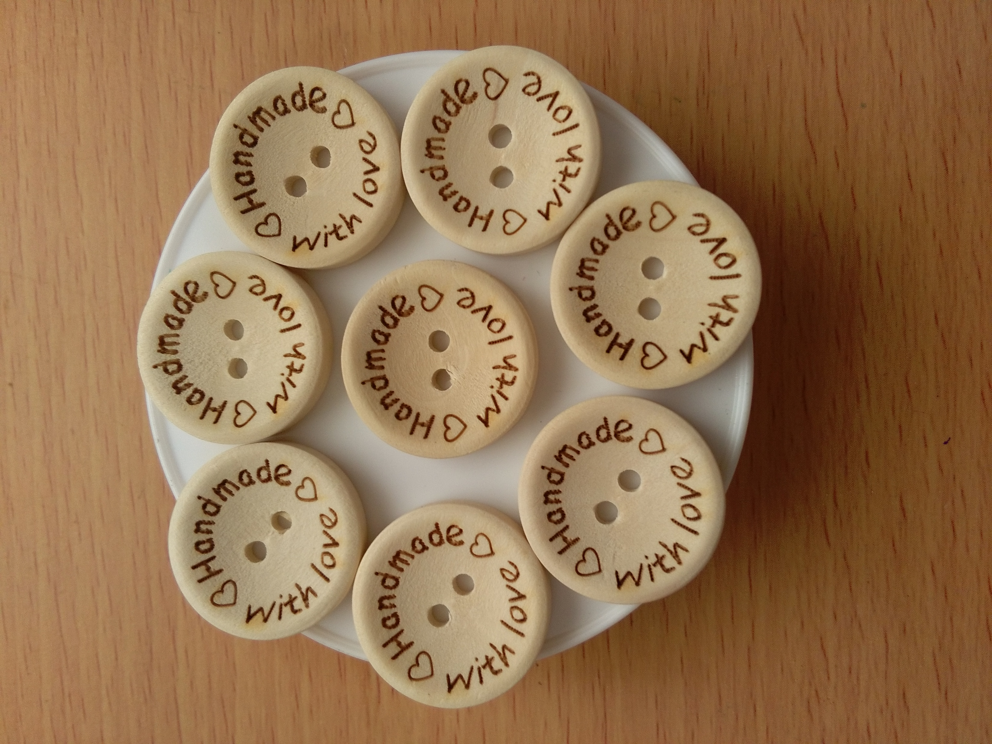 Wooden 15mm Handmade with Love Buttons