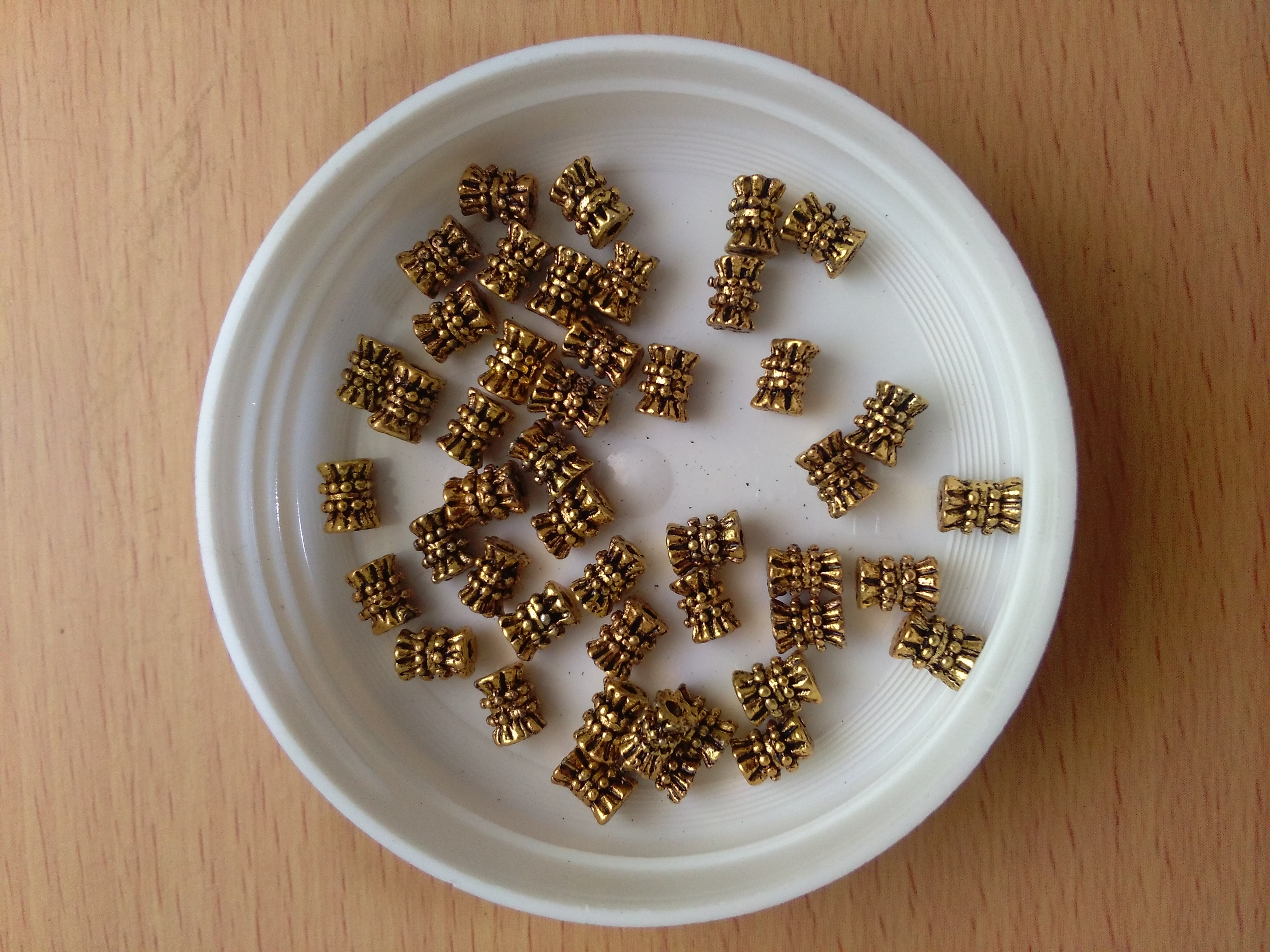 Tibetan Antique Gold  Tube Bead