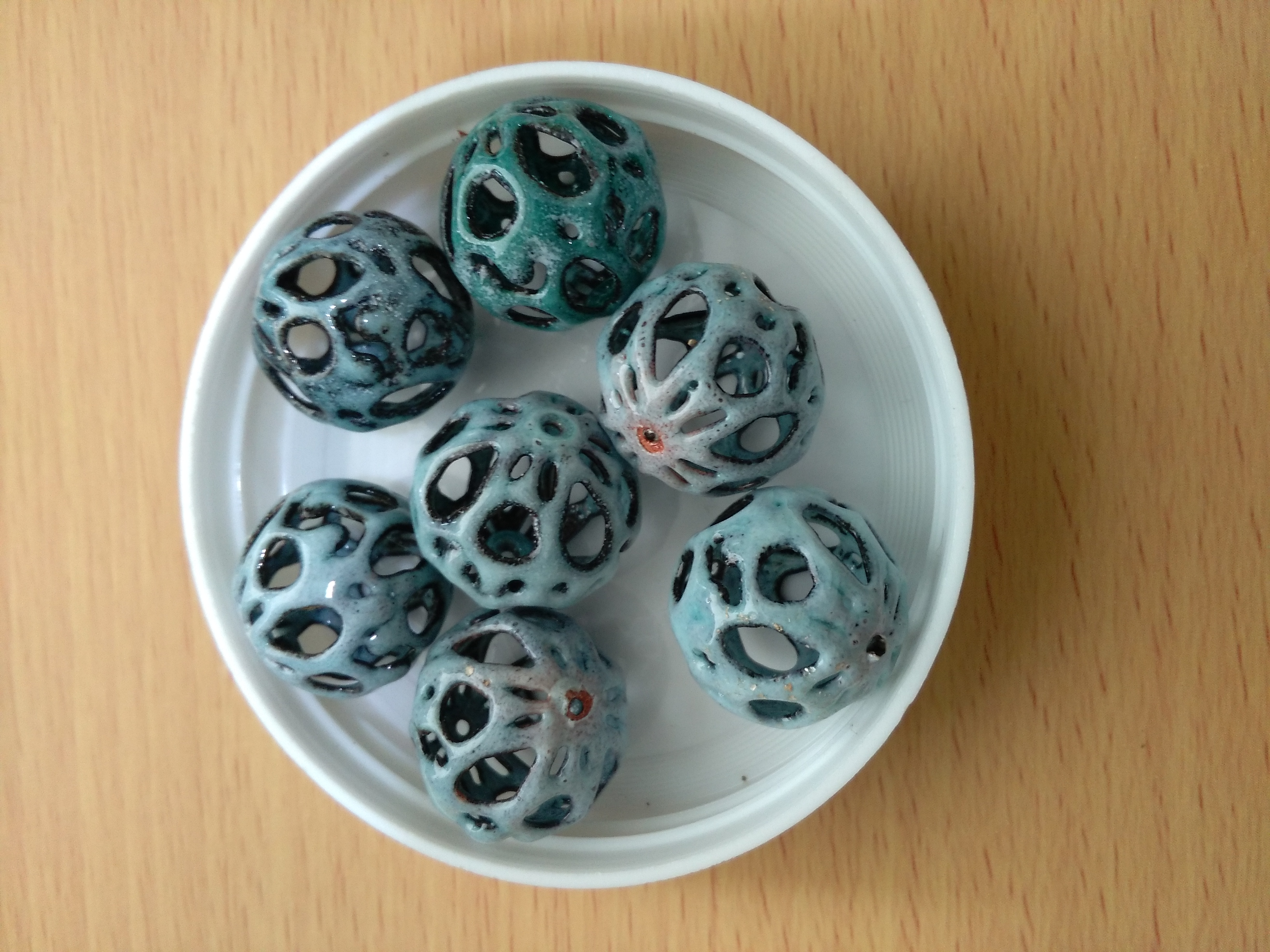 Ceramic Skeleton 15mm Round Bead