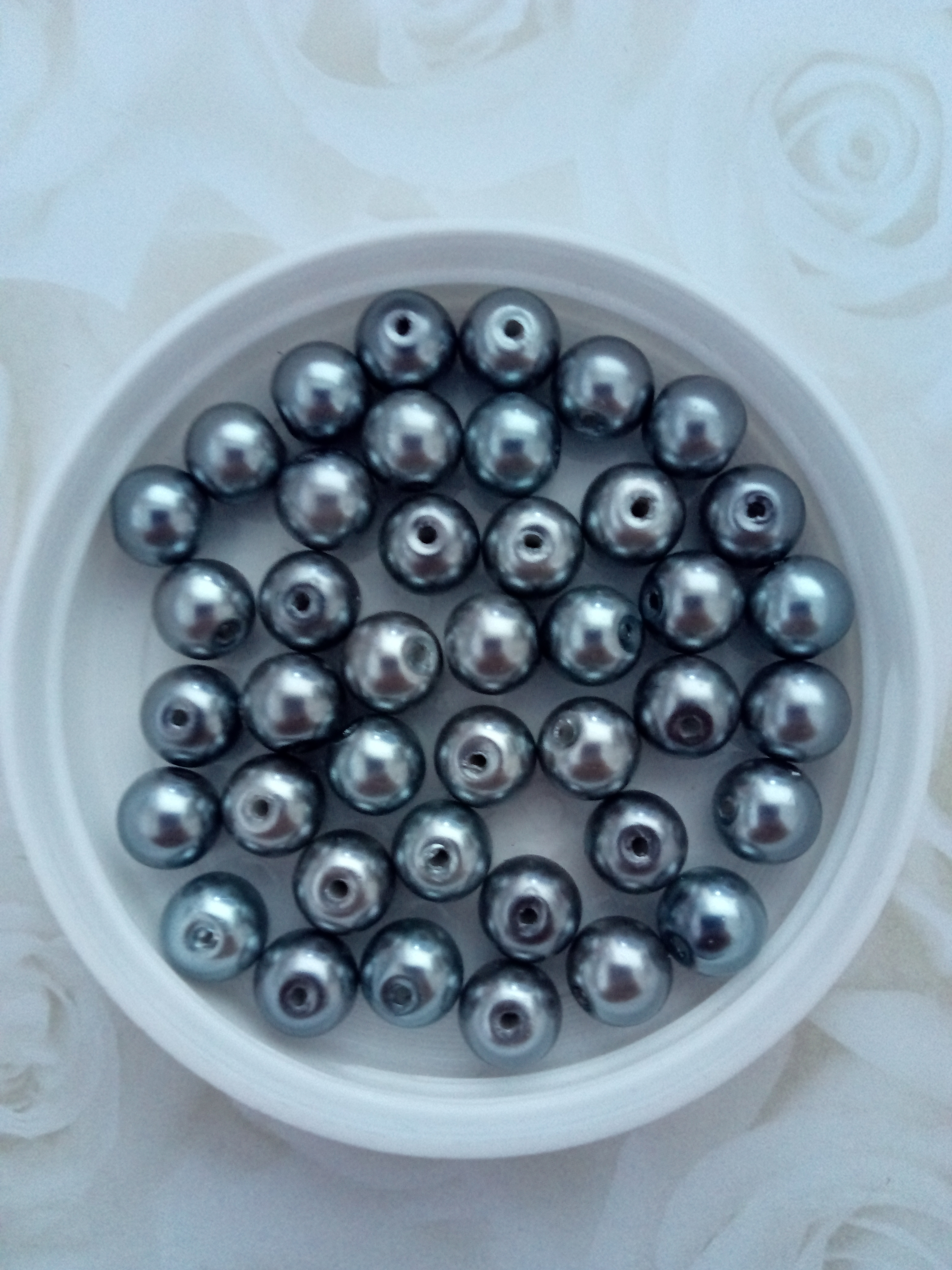 Glass Pearl 8mm Dark Grey