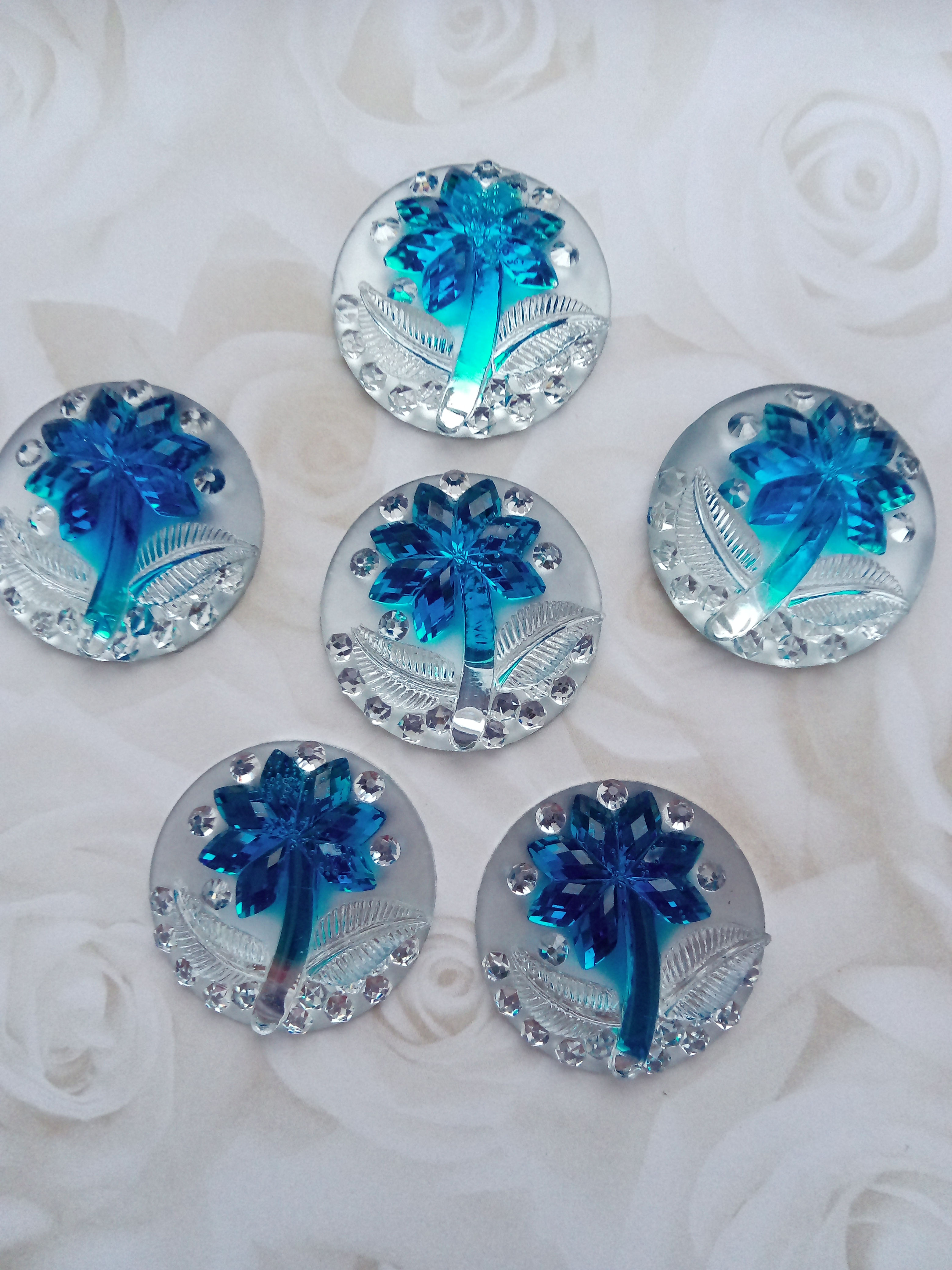 Resin Blue Palm Cabochon 25mm