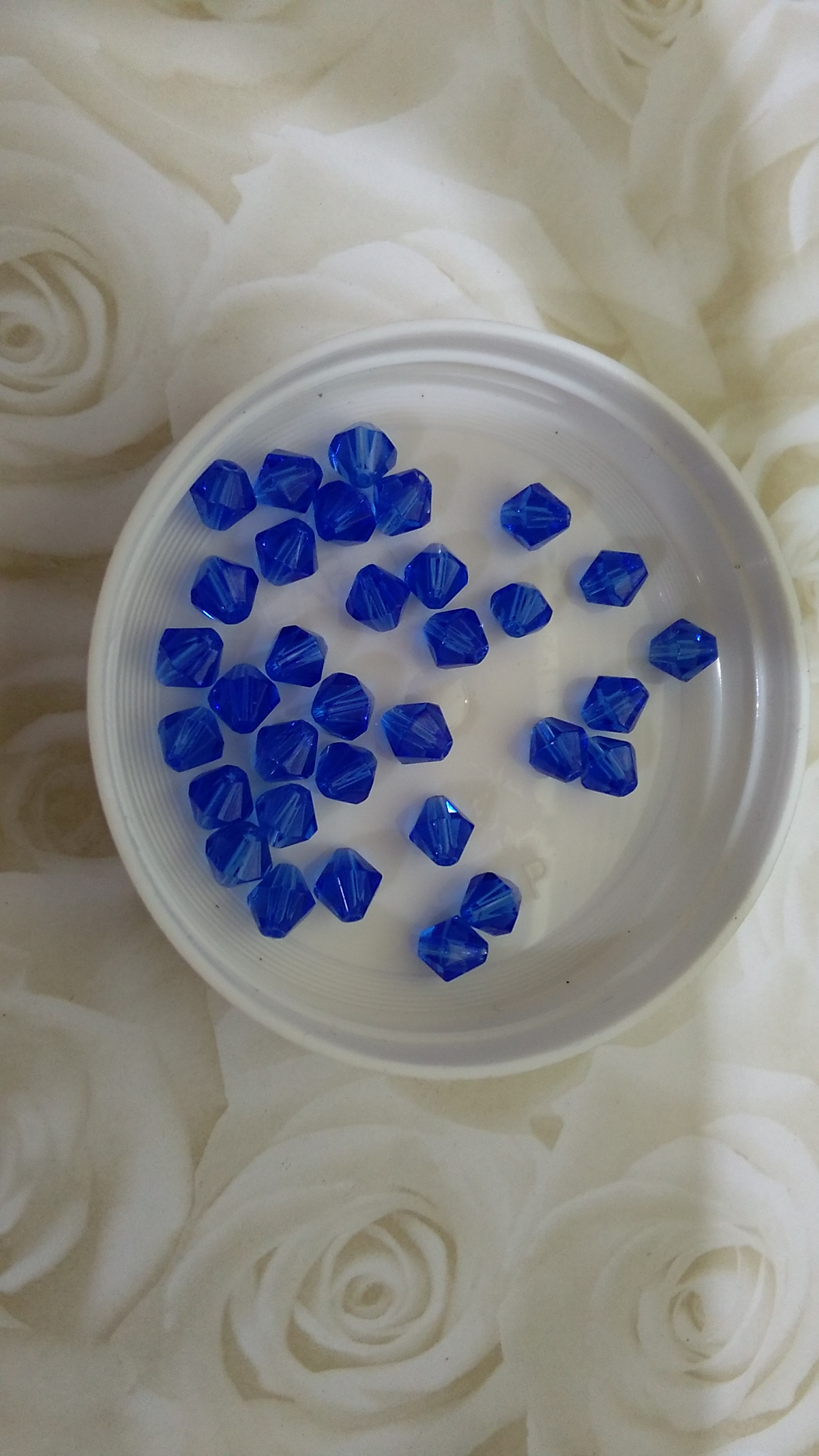 Sapphire Bicone Glass Crystals 6mm