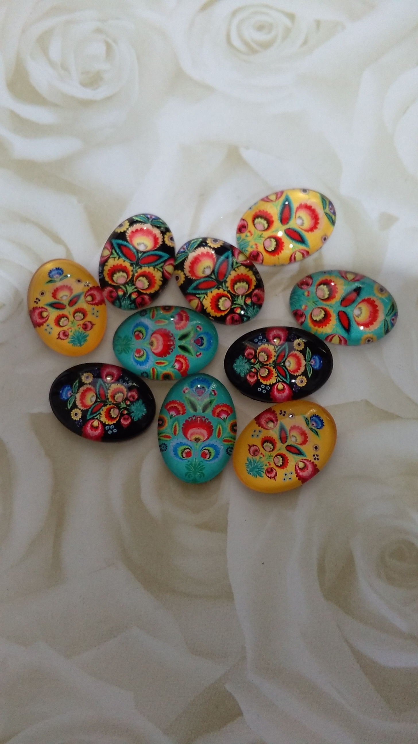Glass Oval Bright Patterned Cabochons 18x13mm