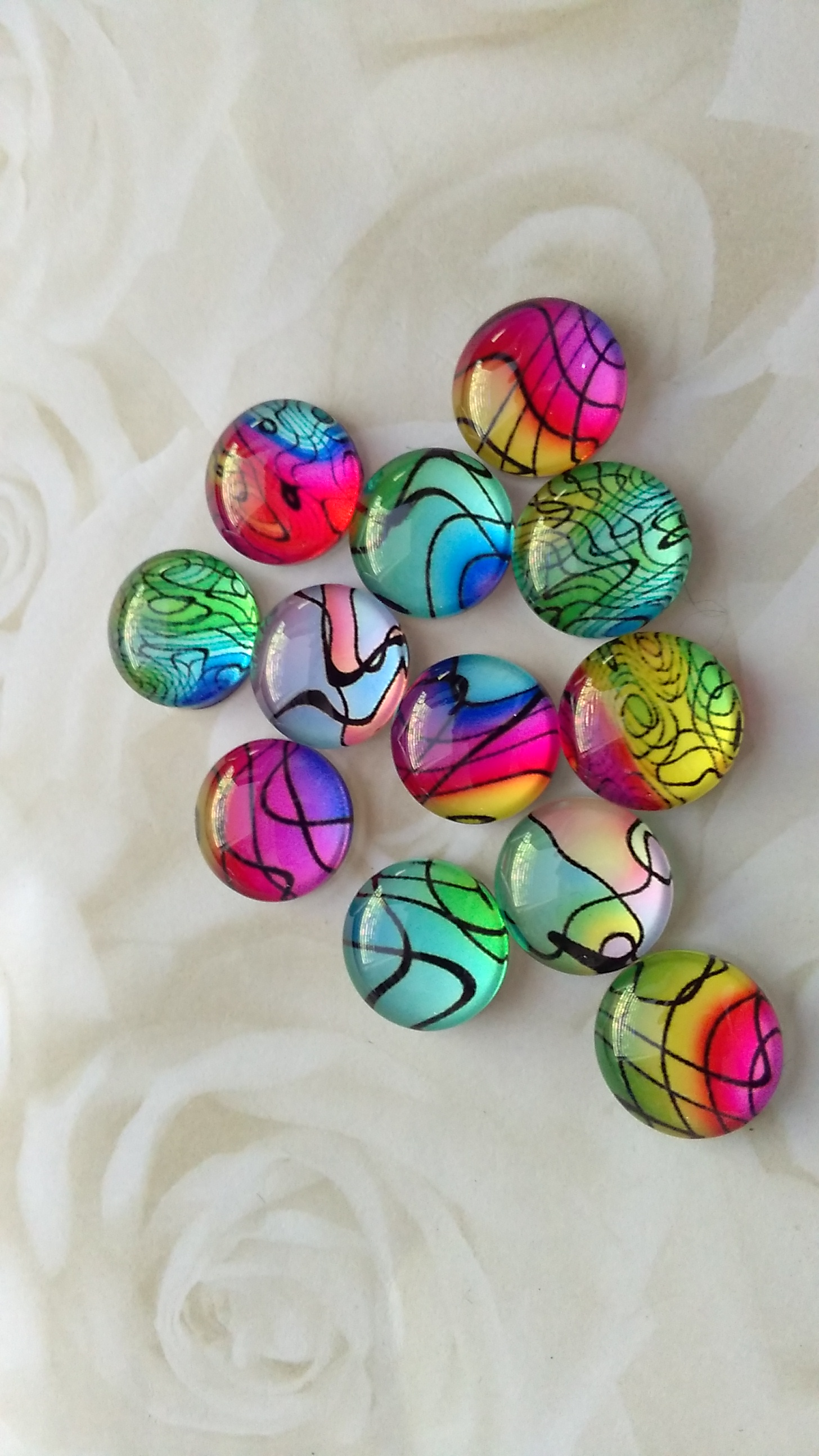 Glass Domed Brightly Patterned 12mm Cabochons