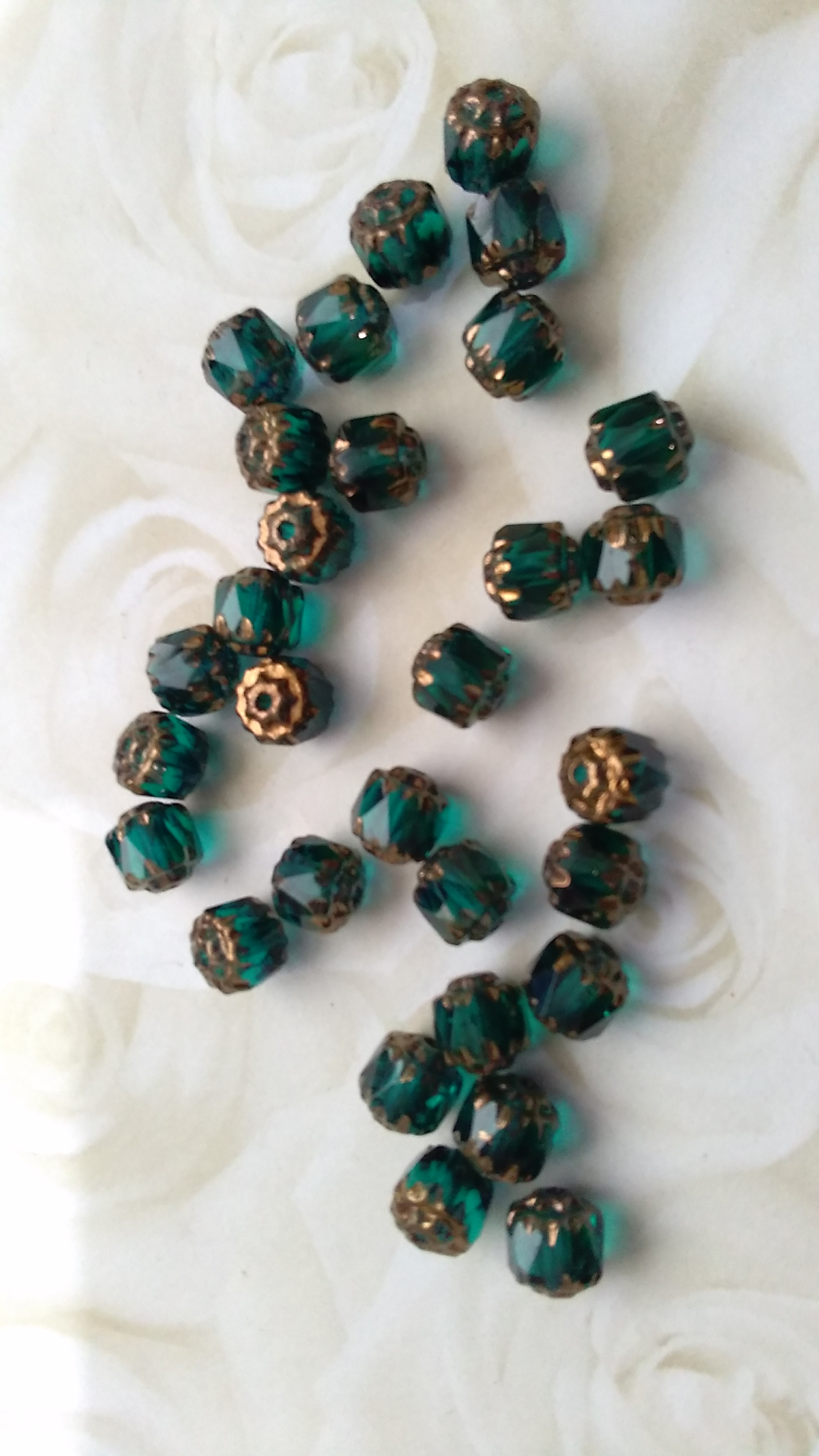 Czech 6mm Cathedral Cut Emerald Beads