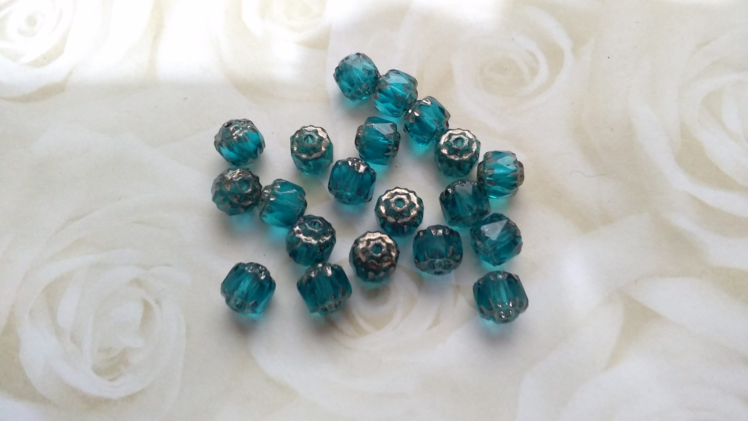 Czech 6mm Teal Cathedral Cut Beads
