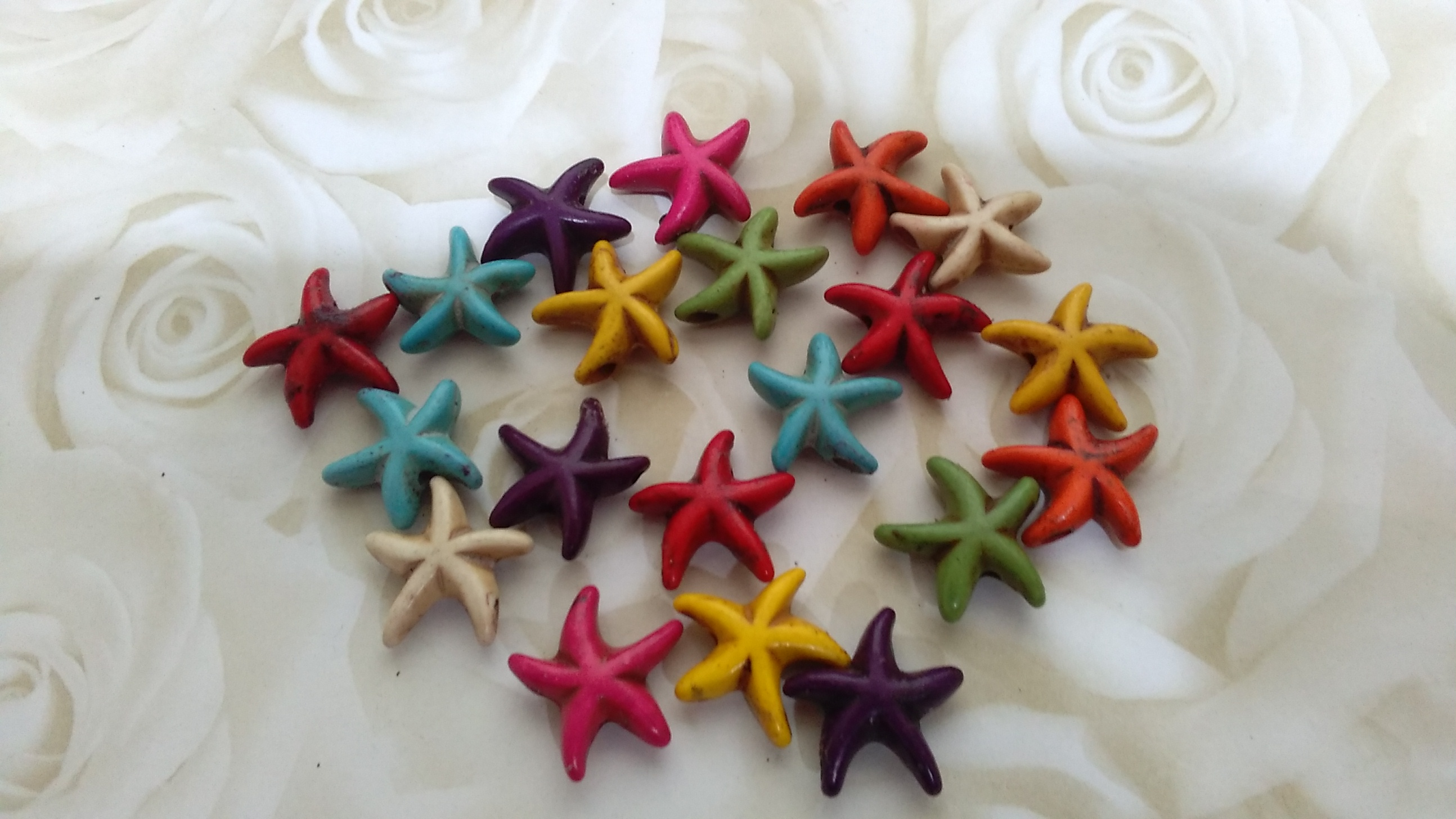 Howlite Assorted Coloured Starfish Beads