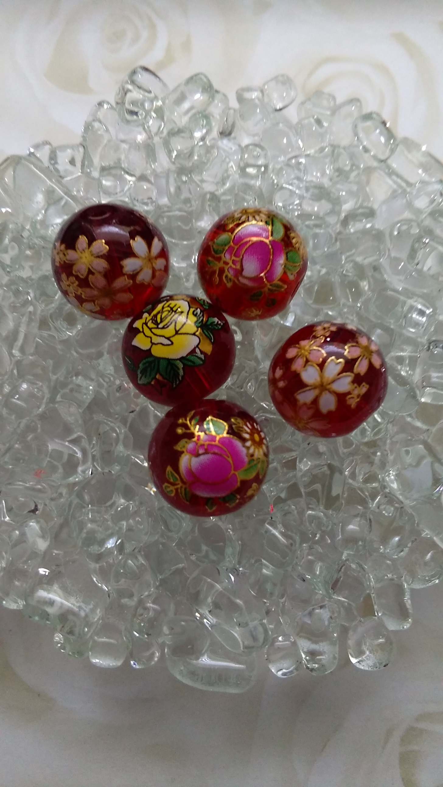 Glass Red Flower Transfer 14mm Beads