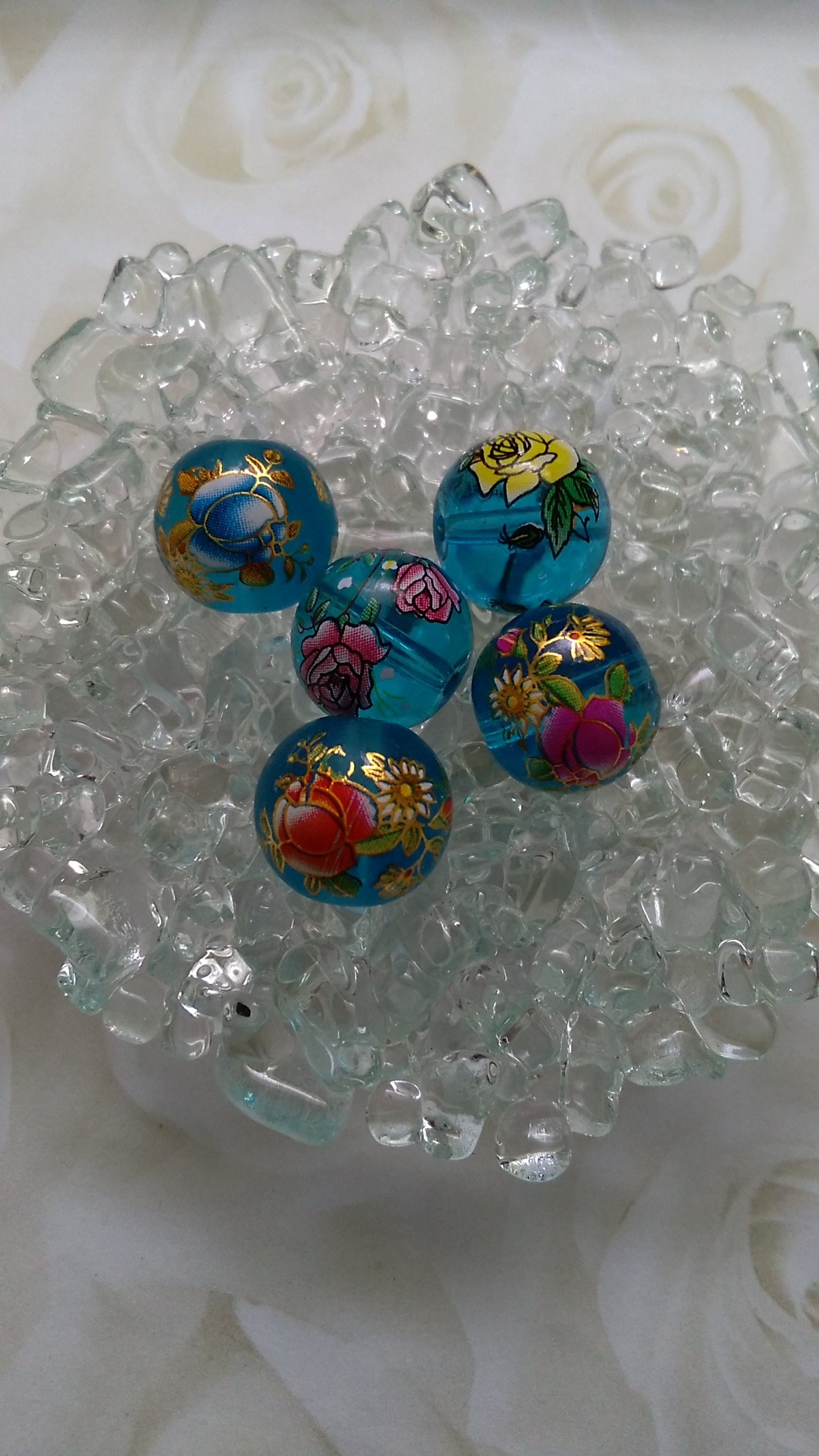 Glass Blue Flower Transfer 14mm Beads