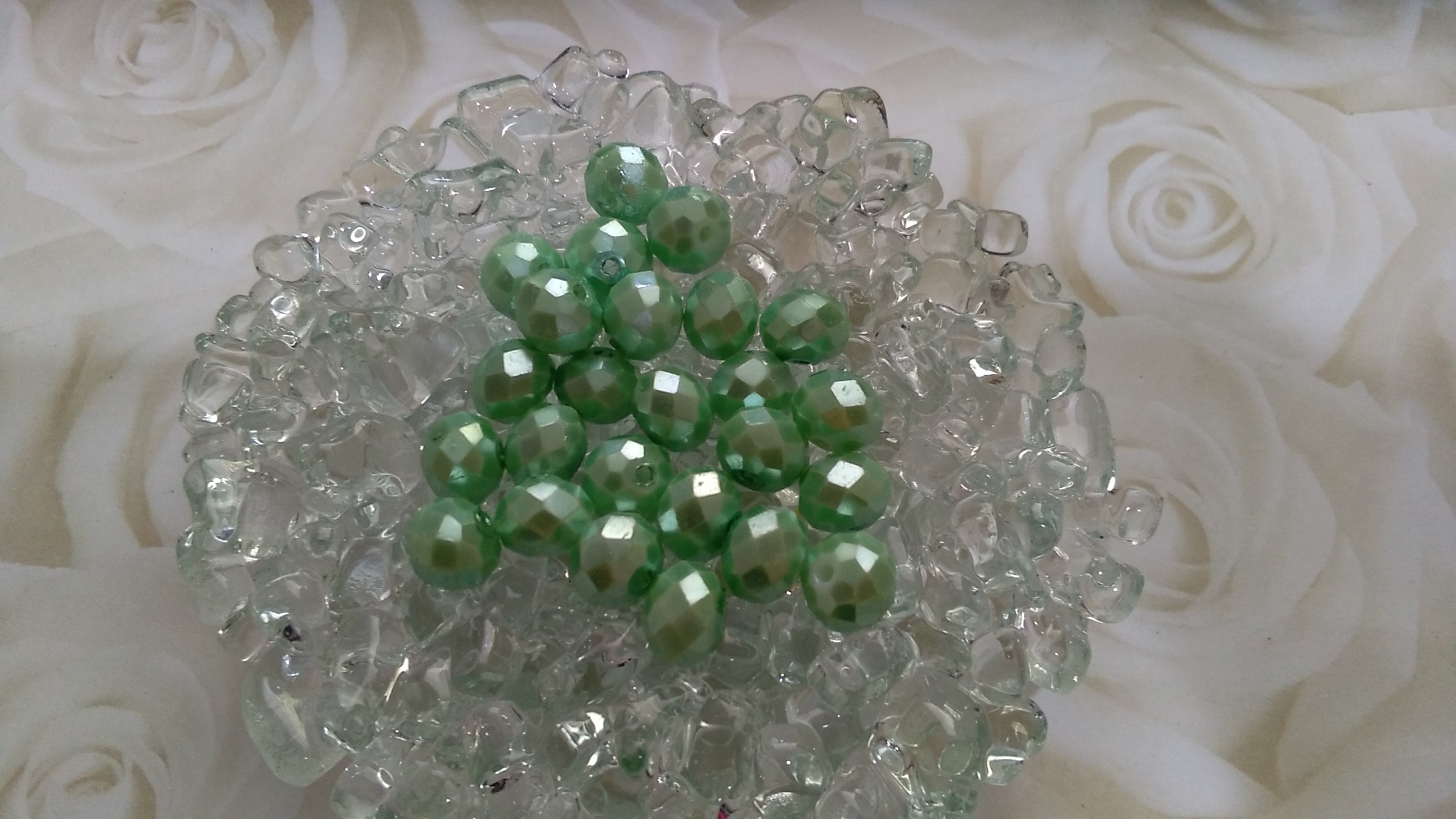 Glass Pearlized Rondelle 8x6mm Beads