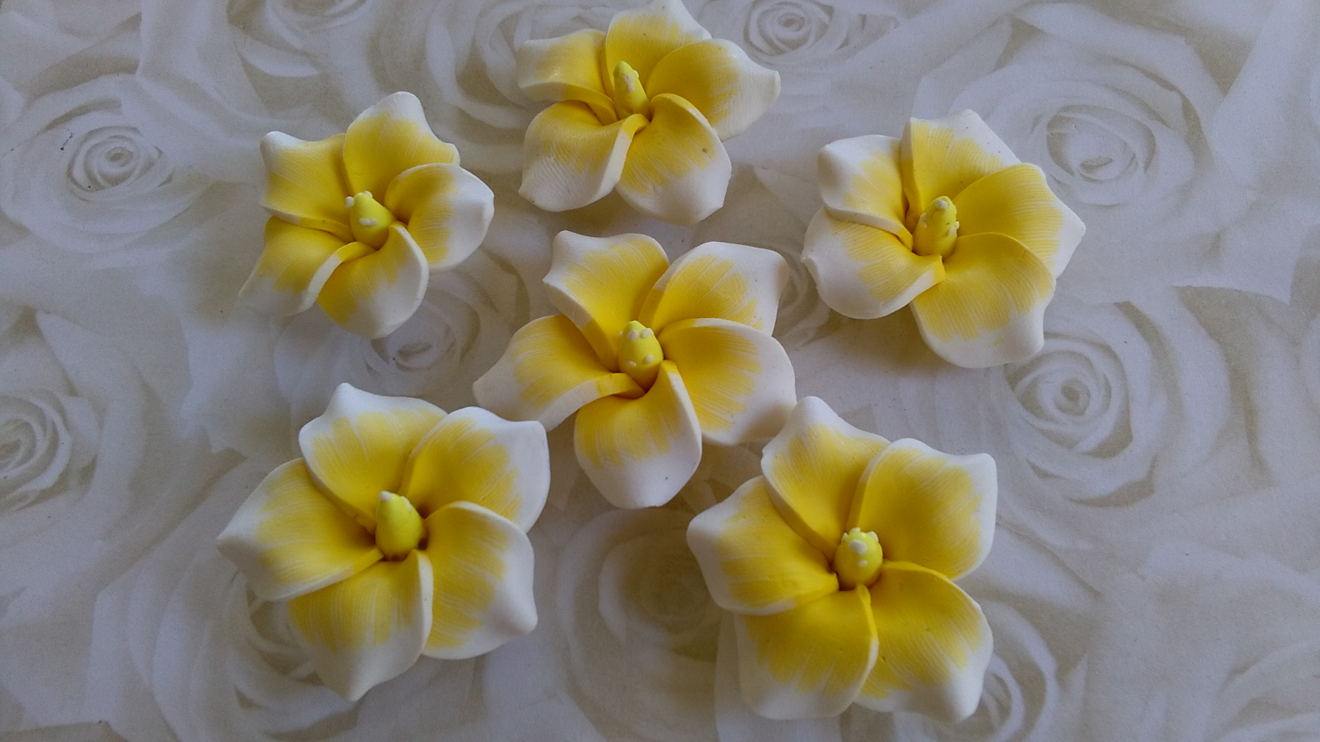 Yellow Polymer Flowers 30mm