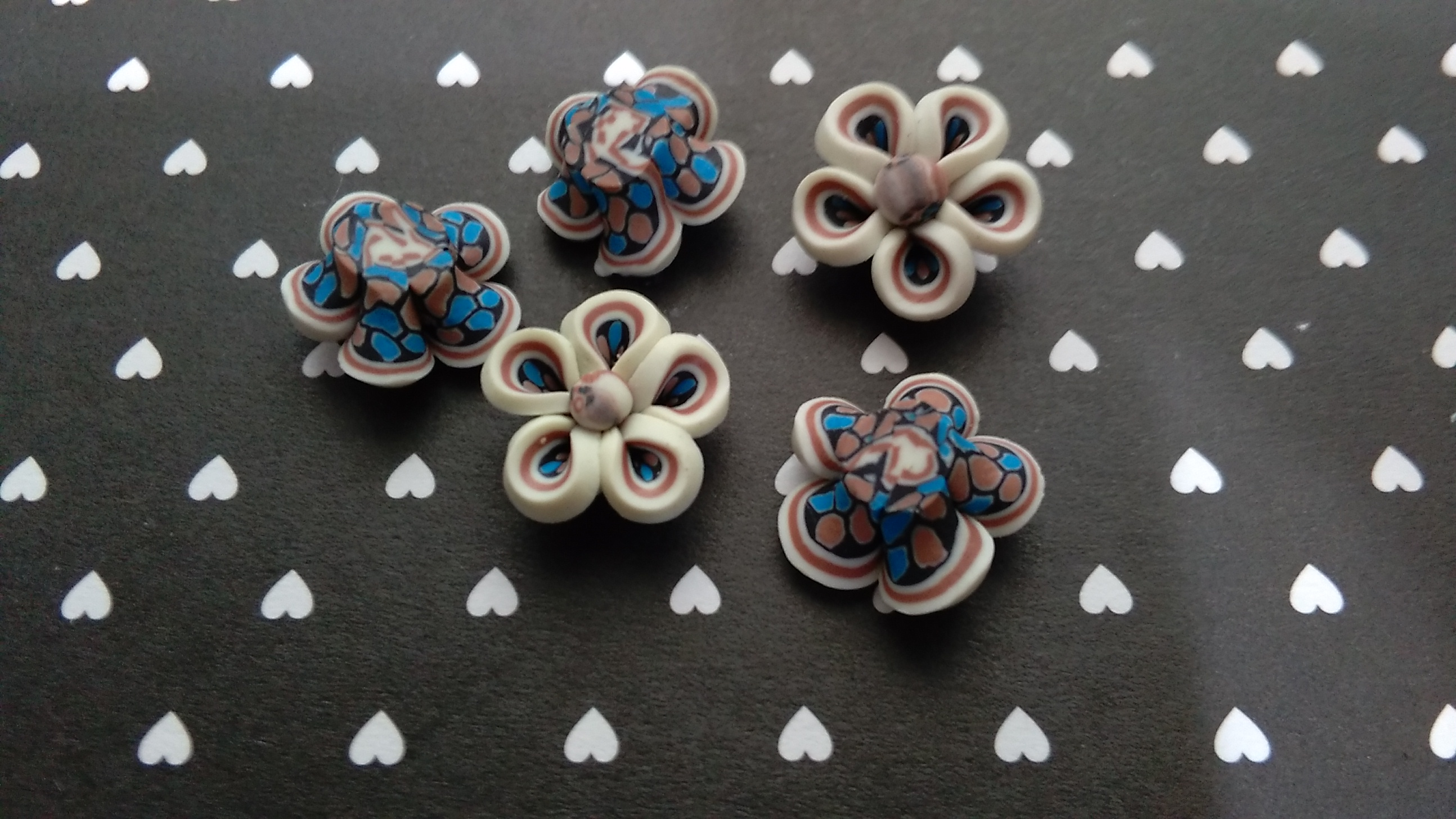 Polymer 2 Patterned Flower Cabochons