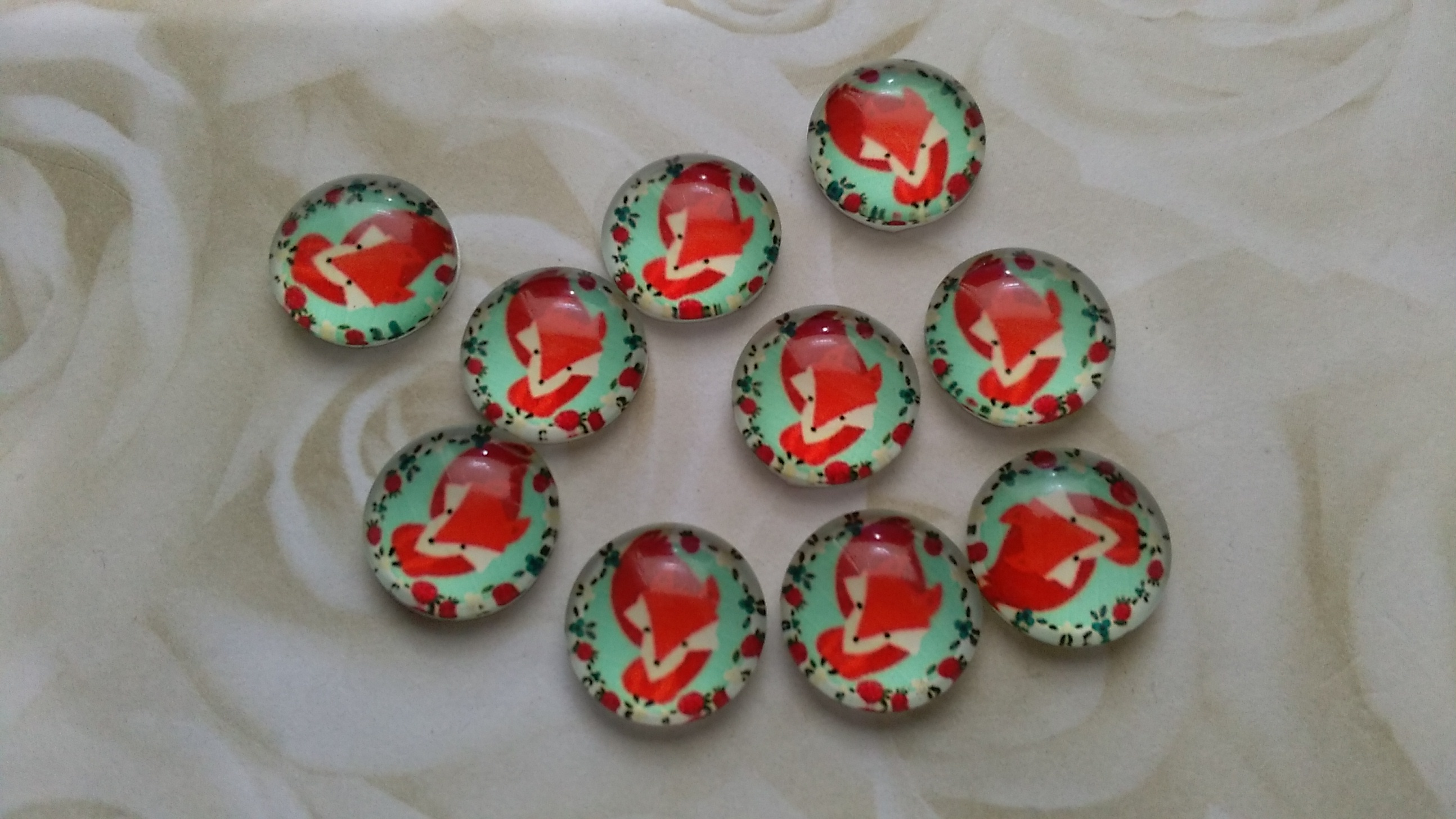 Glass Domed Cute Fox 12mm Cabochons