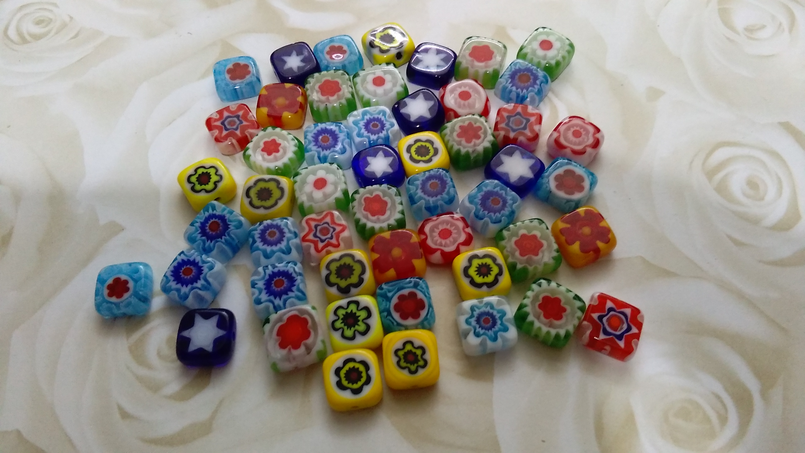 Handmade Millefiori 8mm Square Beads