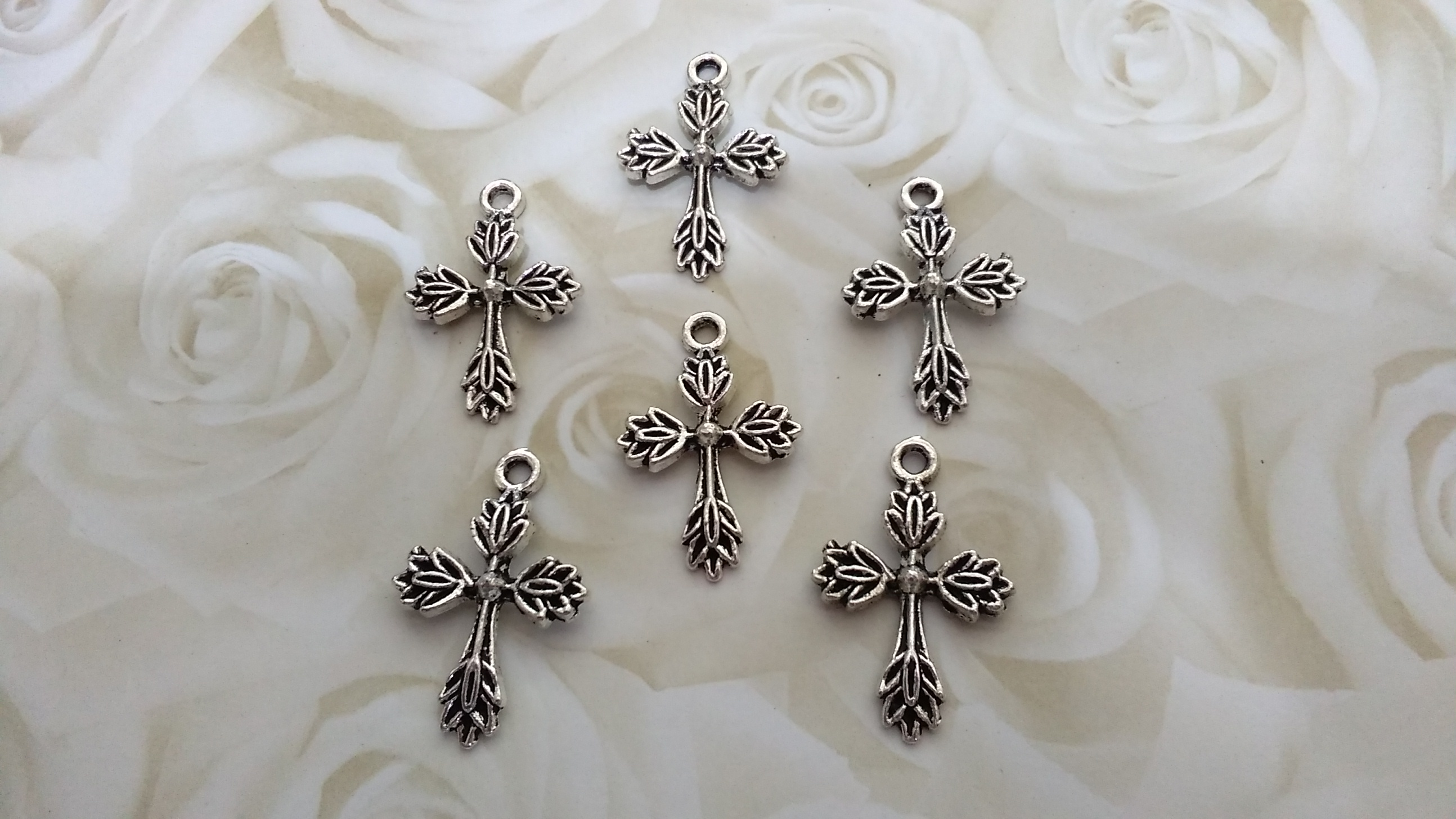 Tibetan Silver Leaf Cross 35x25mm Charm