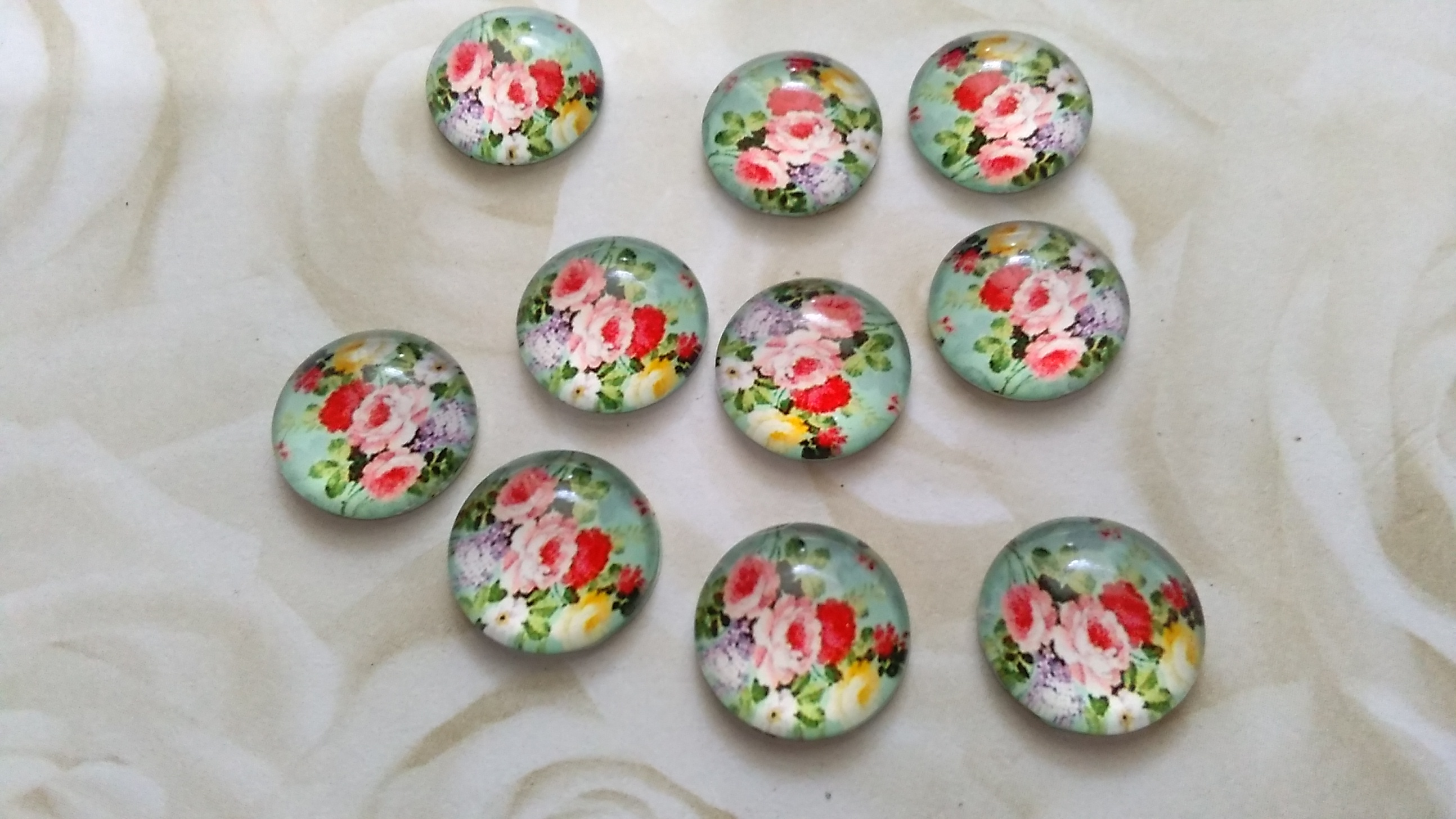 Glass Vintage Rose Image 12mm Cabochons
