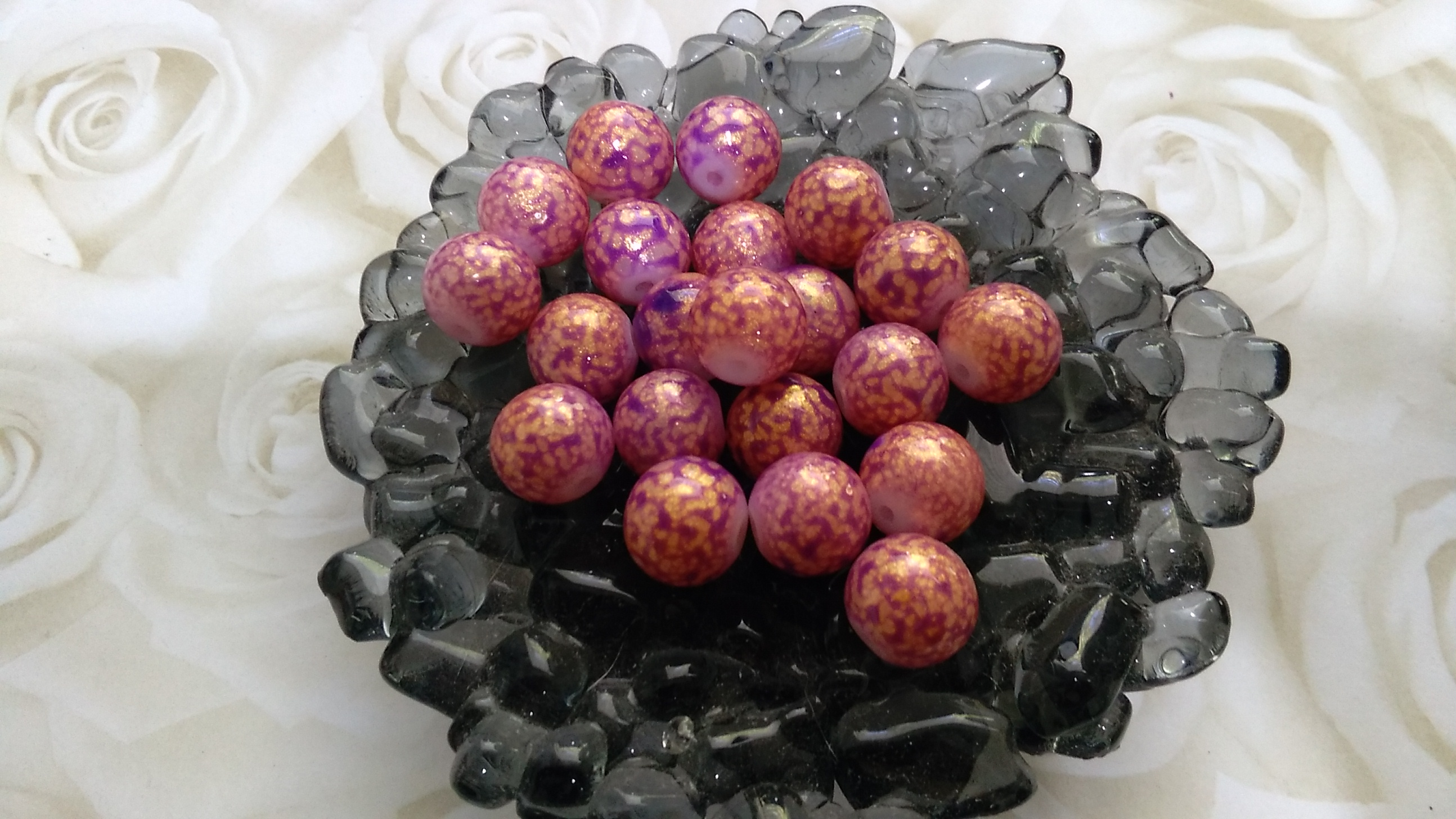 Glass Pink and Gold Speckle 10mm Beads