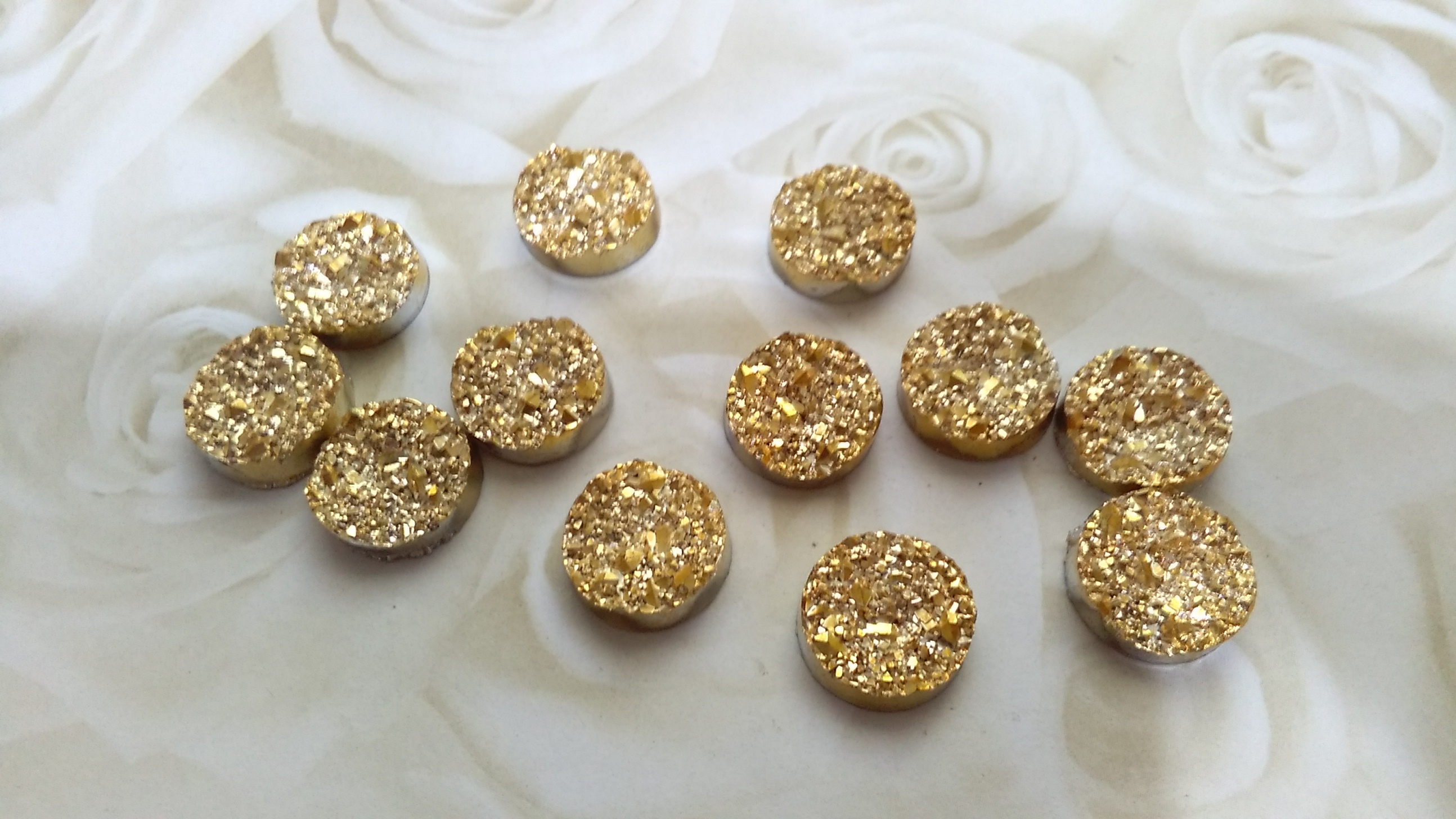 Gold Druzy 12mm Cabochons
