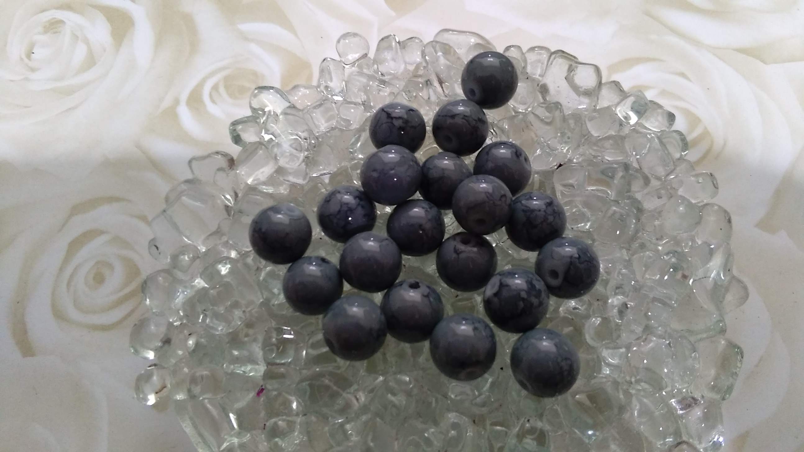 Glass Grey Marble Markings 8mm Beads