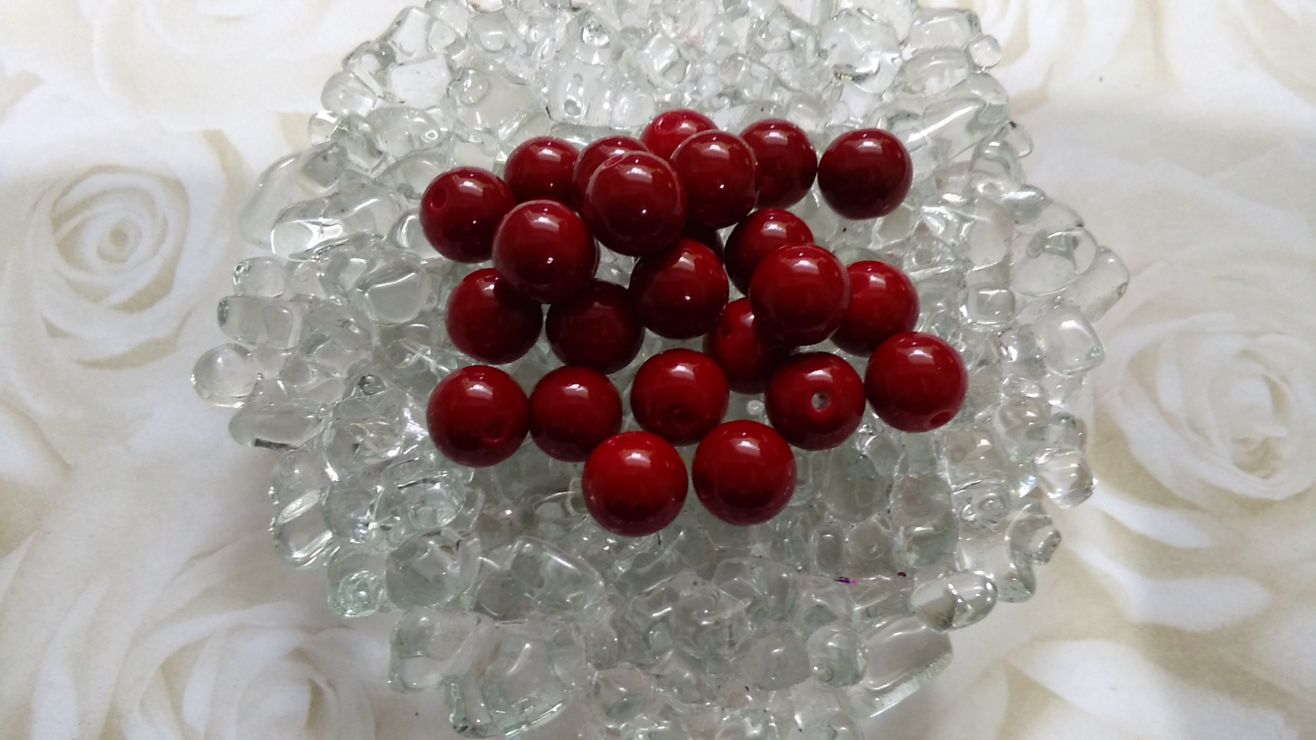 Glass Glossy Red Wine 8mm Beads