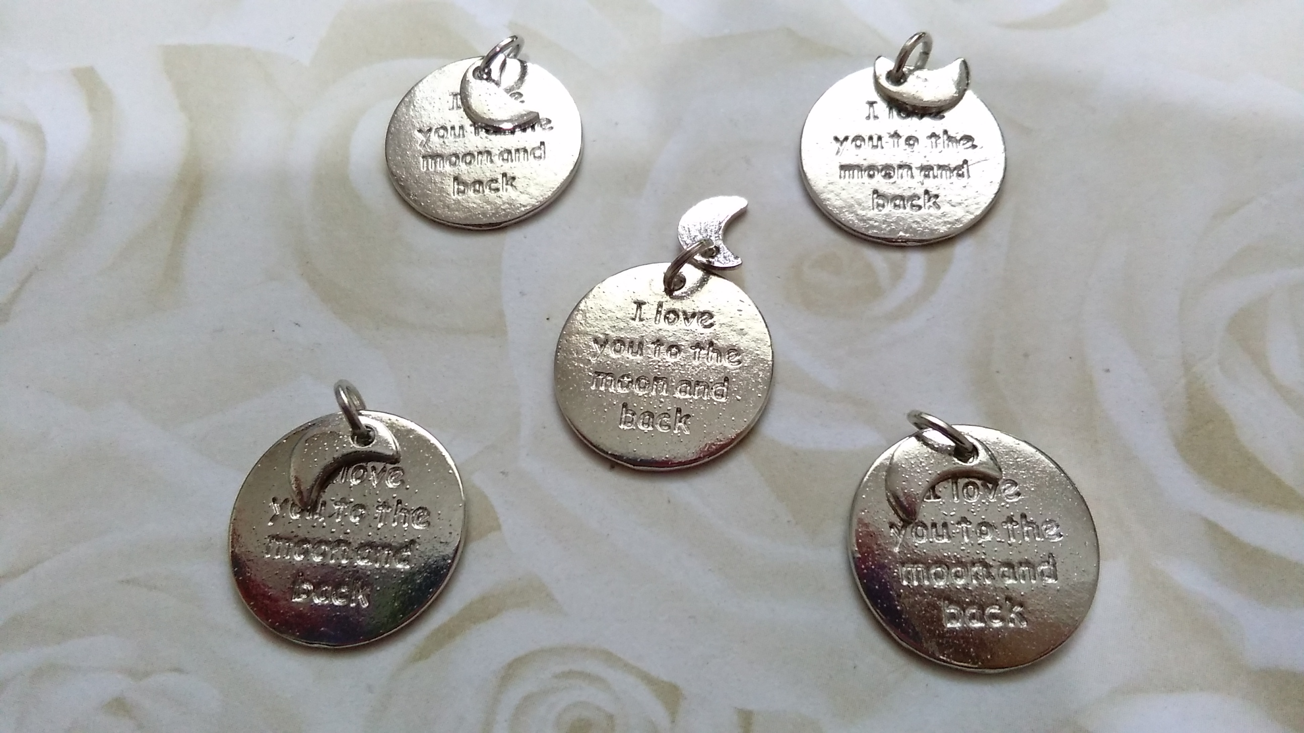 Tibetan Silver 'I love you to the moon and back' 15mm Charms