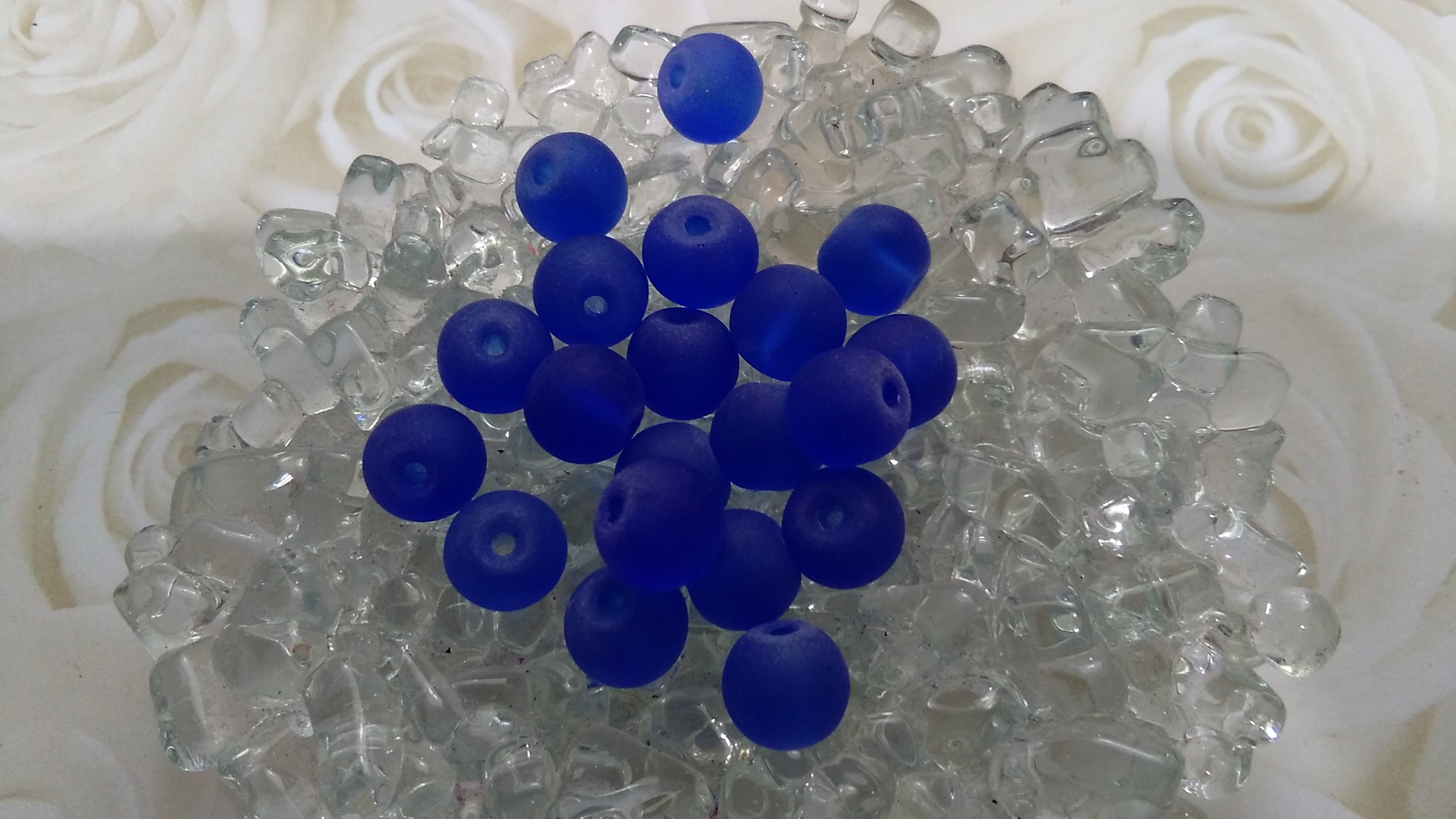 Glass Frosted Blue 8mm Beads