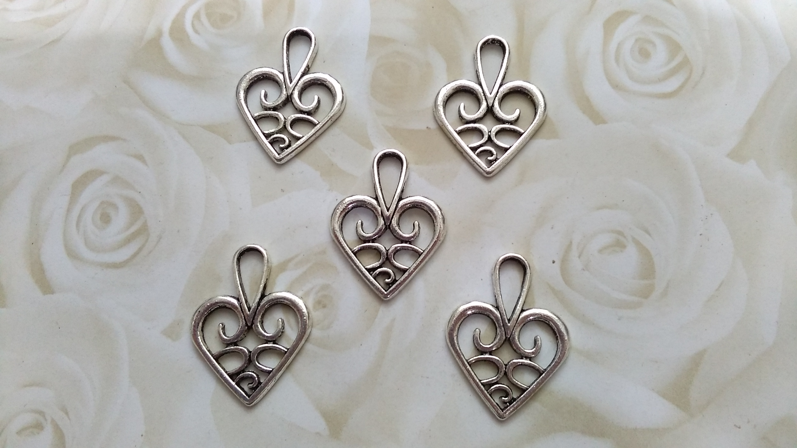 Tibetan Silver Ornate Heart 20x25mm Charms