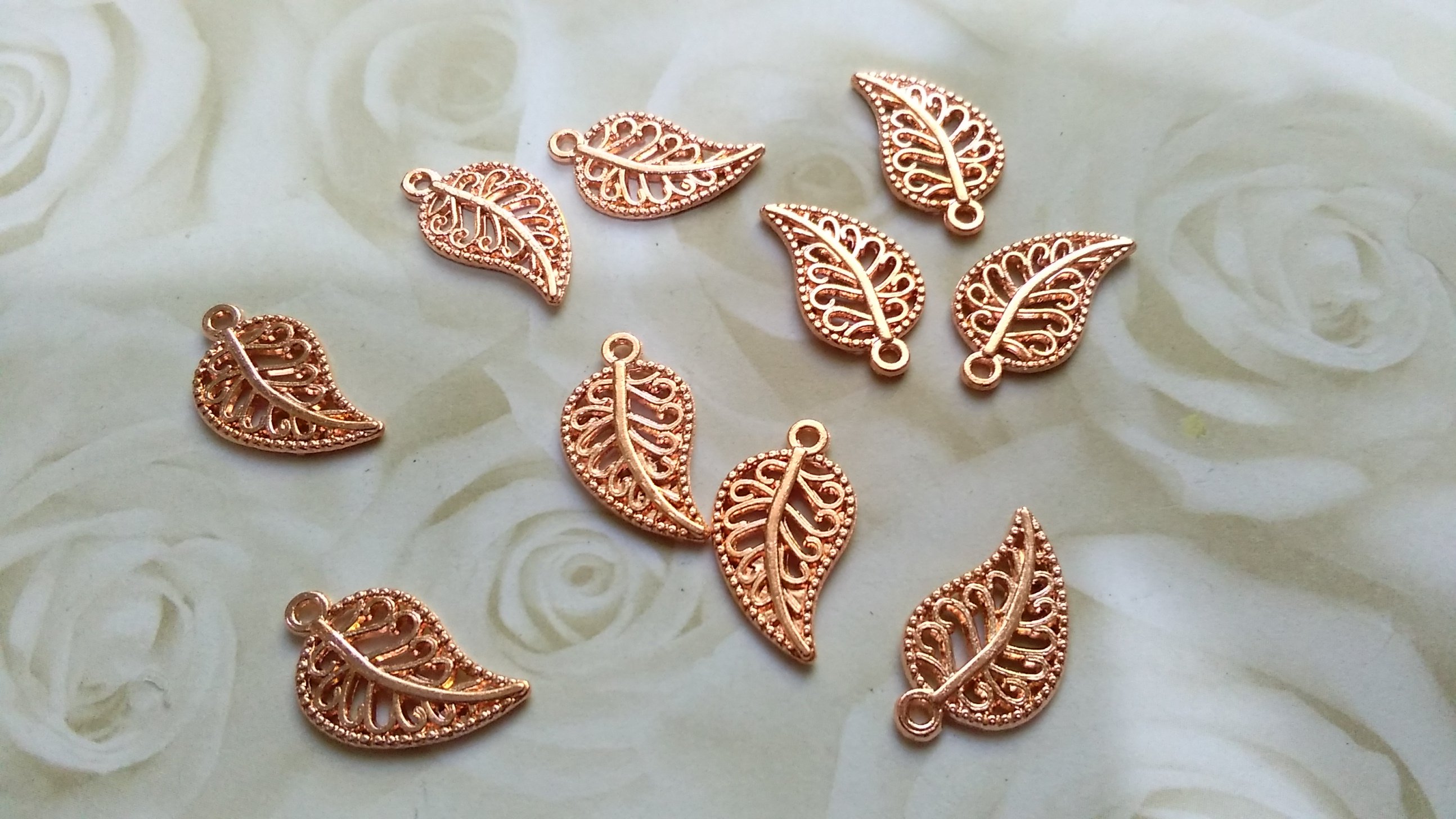 Rose Gold Toned Ornate Leaf 18x10mm Charms