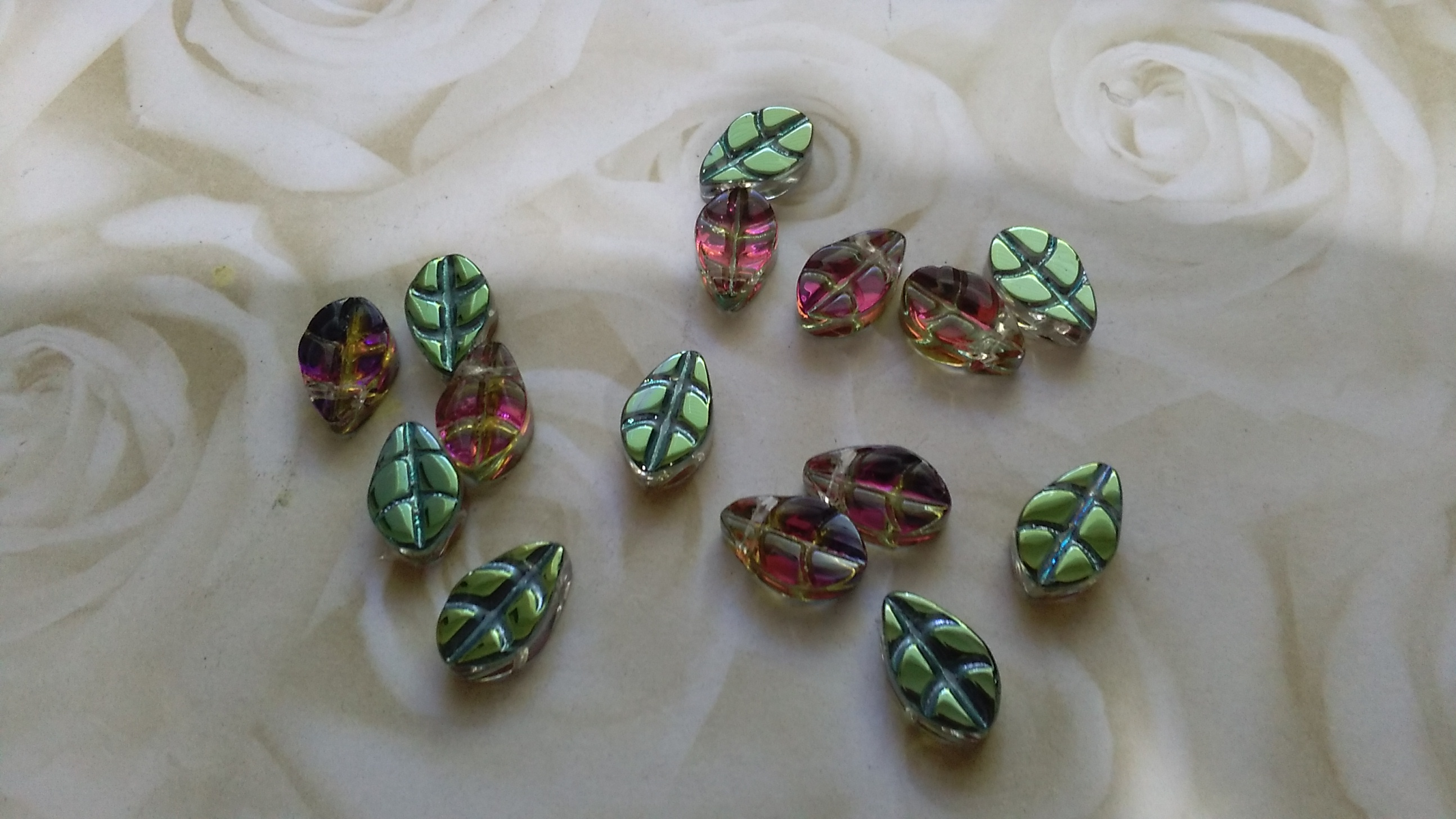 Glass Green AB Rainbow Coloured Leaf Beads