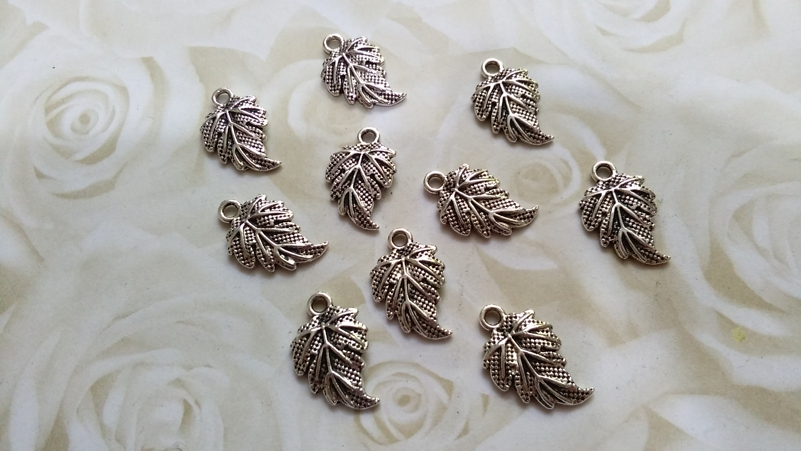 Tibetan Silver Etched Leaf 18x10mm Charms