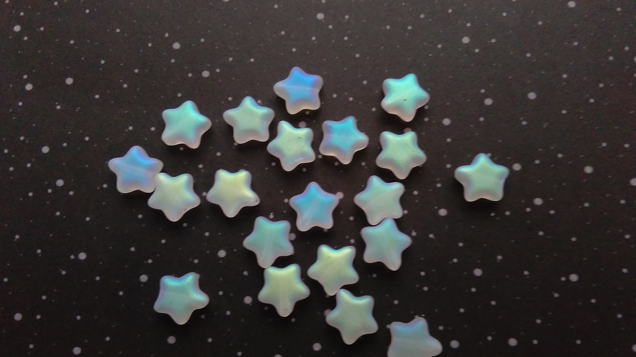 Glass Frosted AB Coated 8mm Star Beads