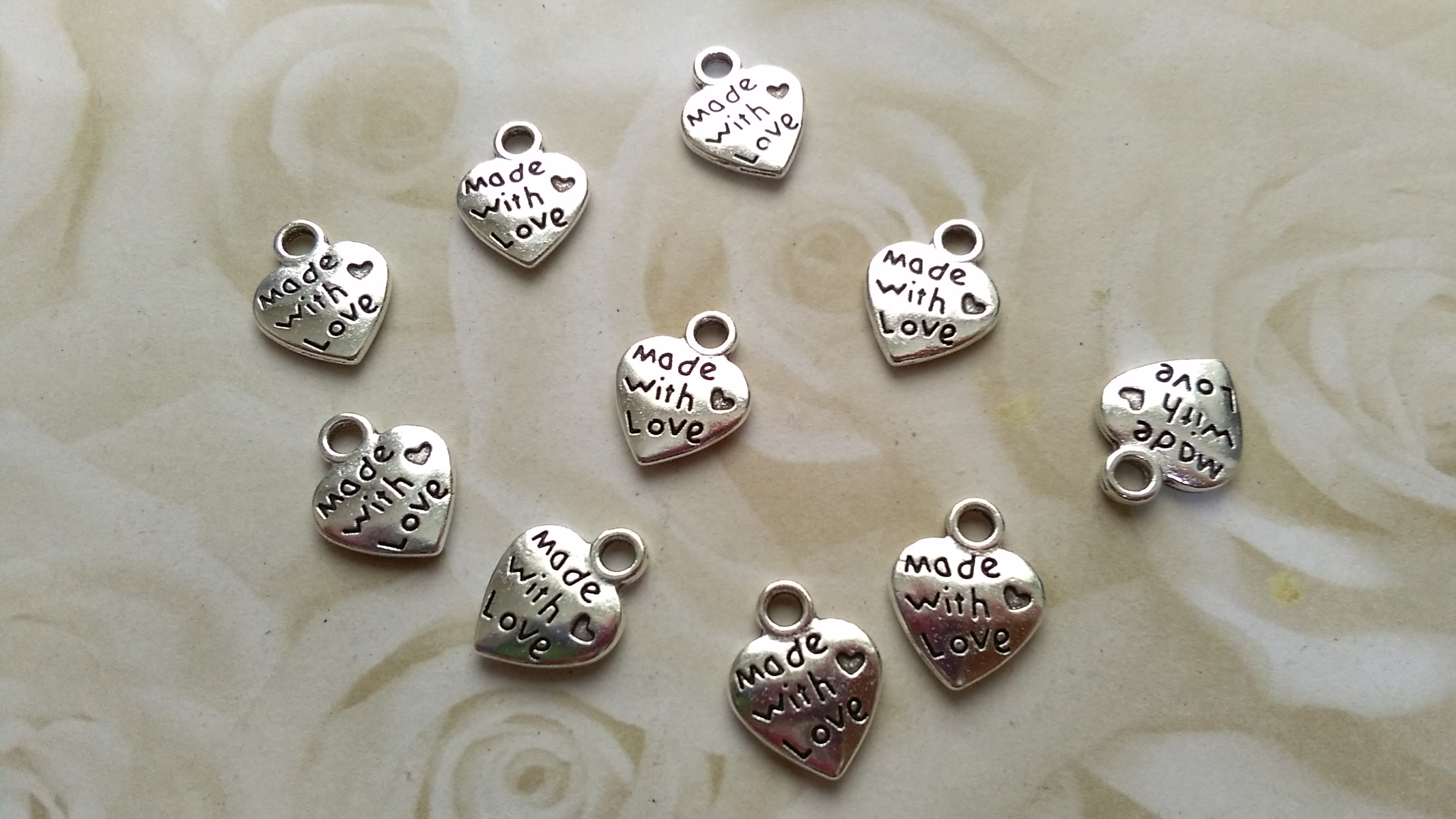 Tibetan Silver Made with Love Heart 12mm Charm