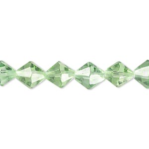 Pale Emerald Glass Bead 8mm Faceted Bicone
